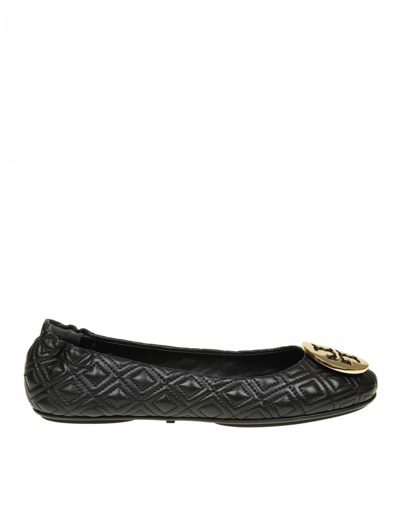 """""""Quilted Minnie"""" Ballerina In Black Color Leather, Black/Gold"""
