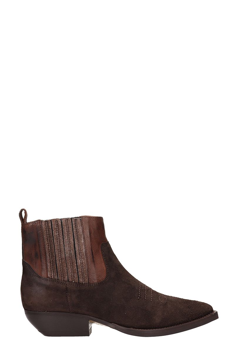 Brown Suede Texan Ankle Boots