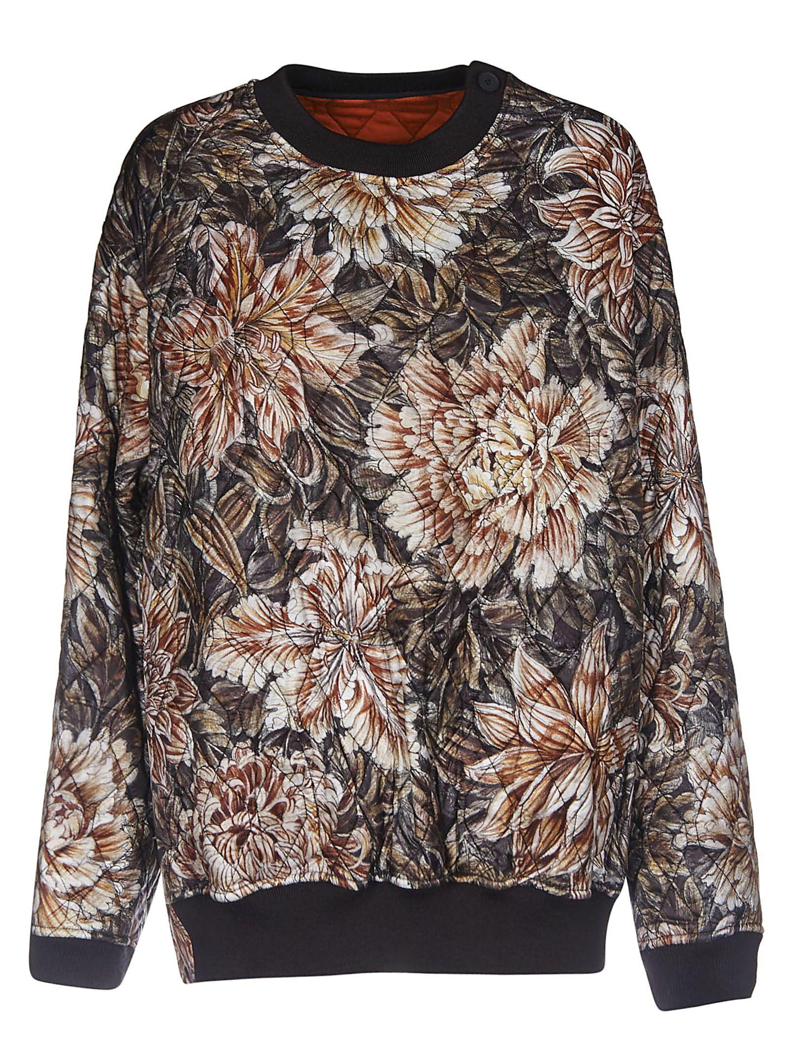 Y-3 Floral Print Quilted Sweatshirt