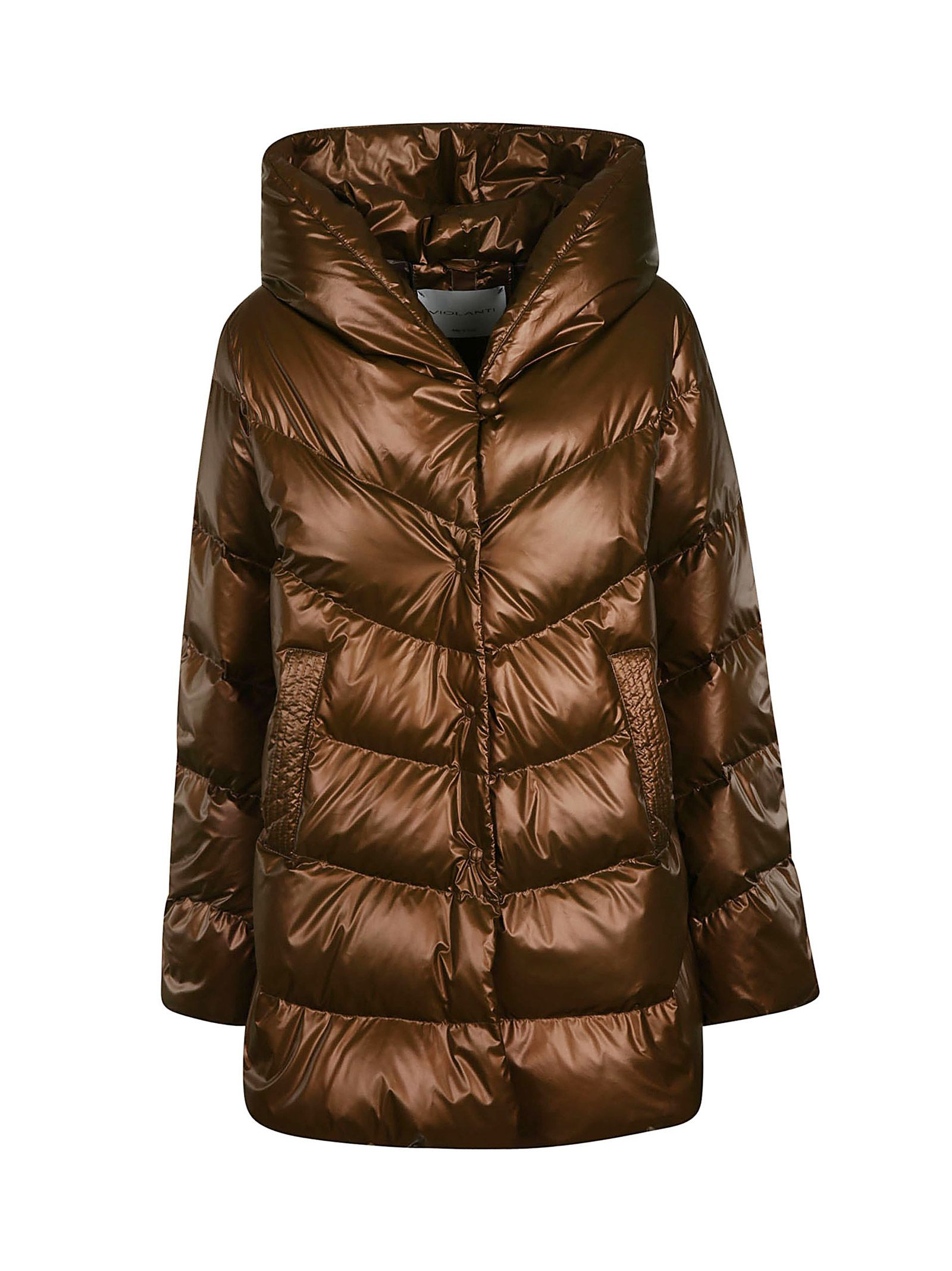 VIOLANTI Button-Up Padded Jacket in Brown