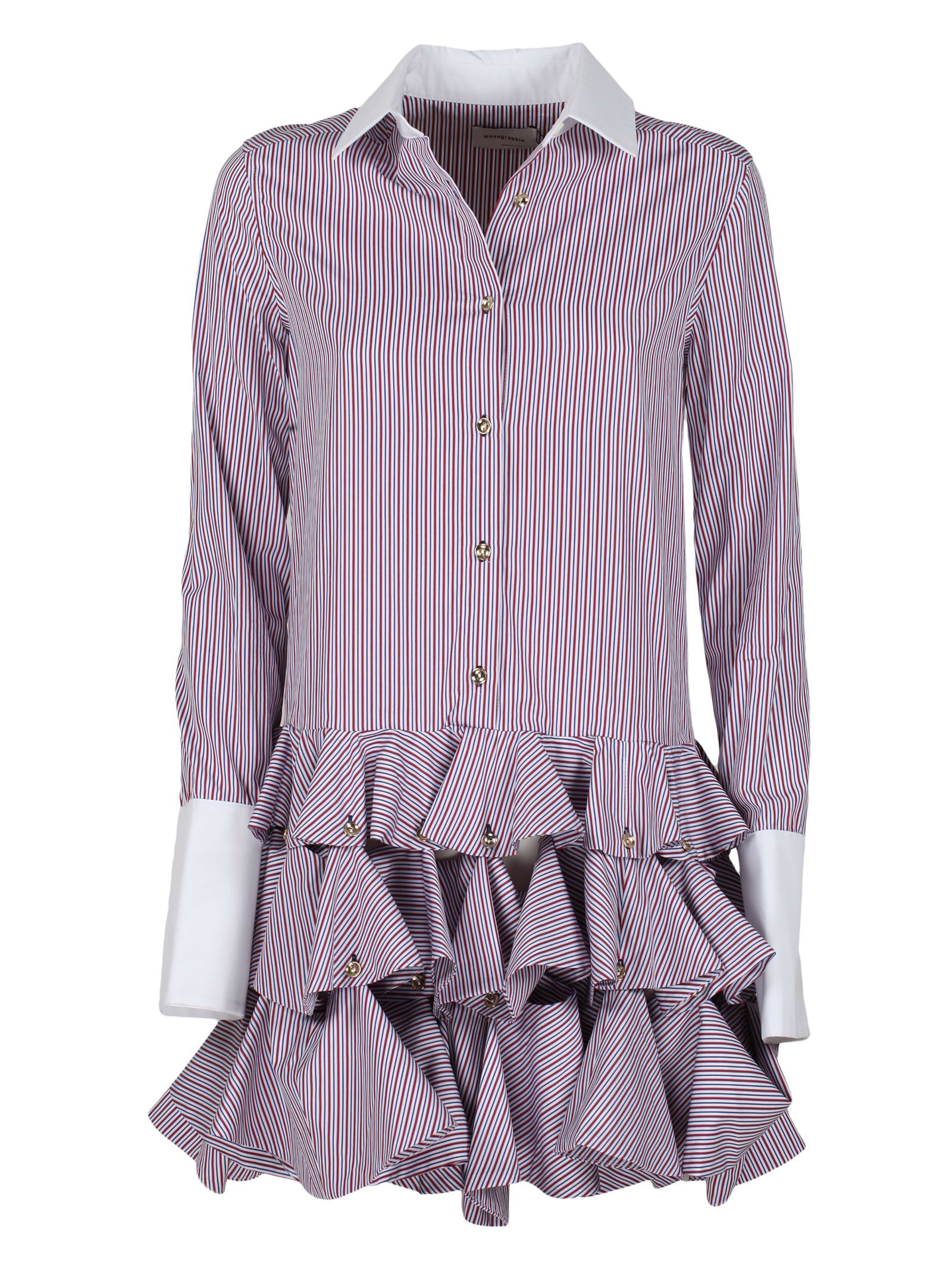 MONOGRAPHIE Ruffled Shirt in Red Blue White Stripes
