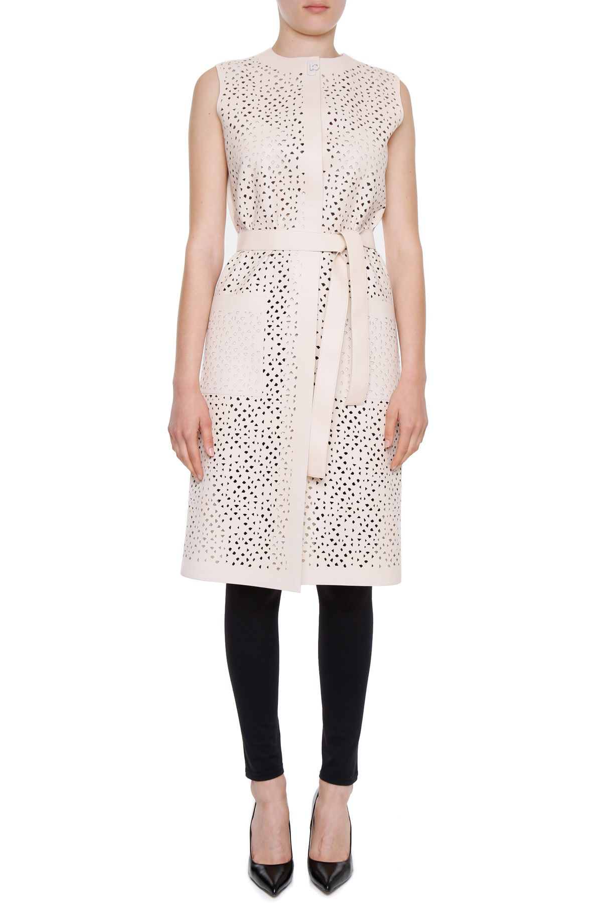 Cotton And Perforated Nappa Vest 9664494