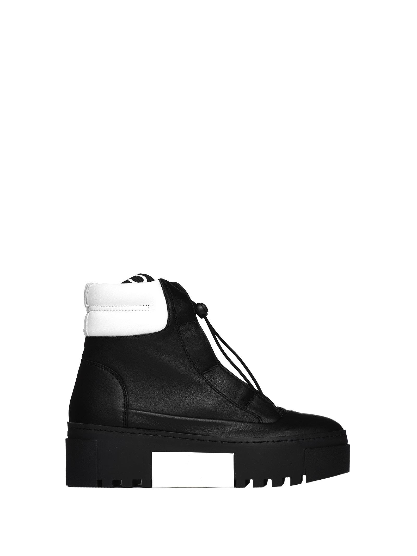 vic matié -  Black And White Hiking-style Heeled Ankle Boots