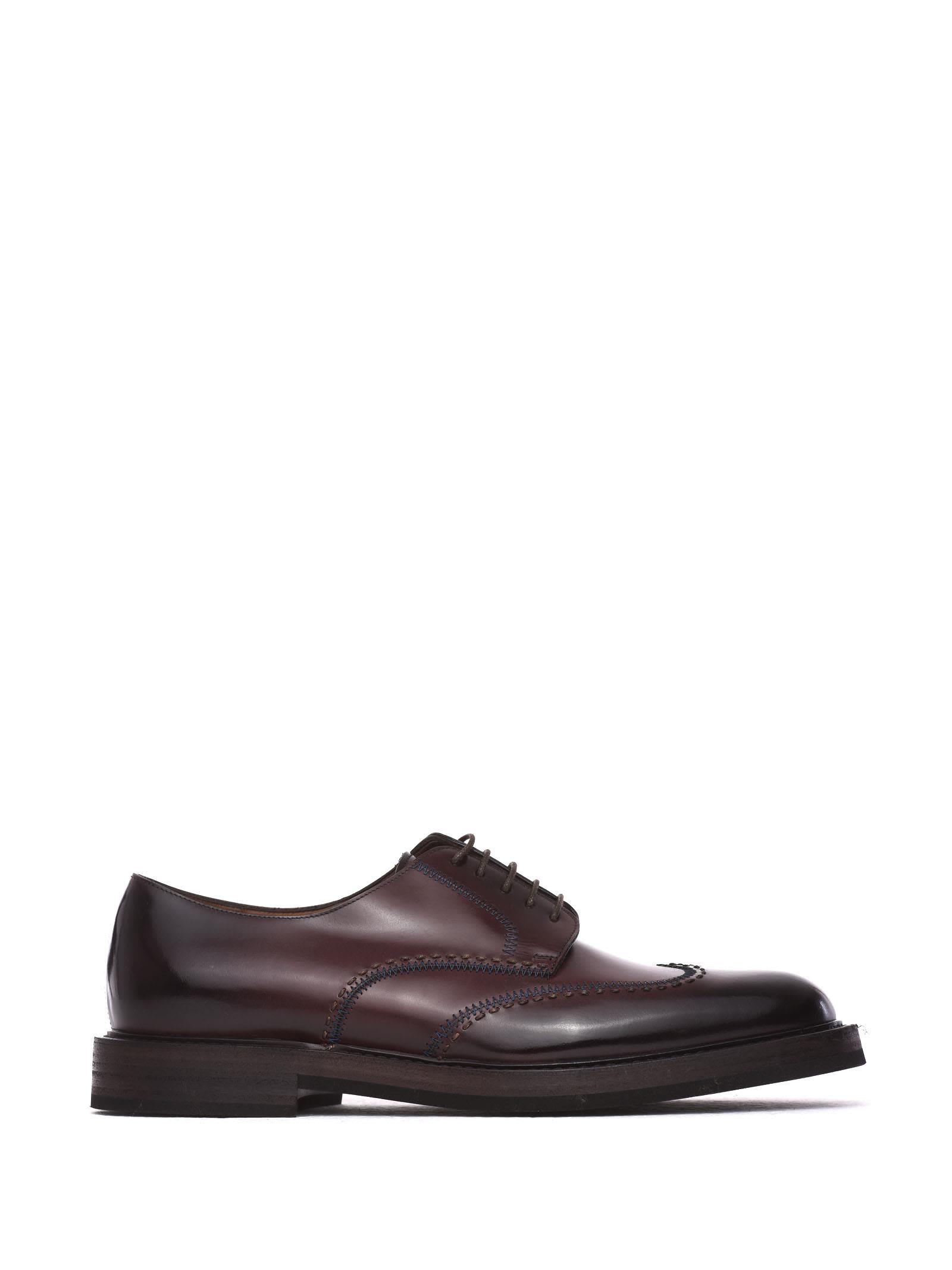 Oxford Shoes In Burgundy Calf Leather