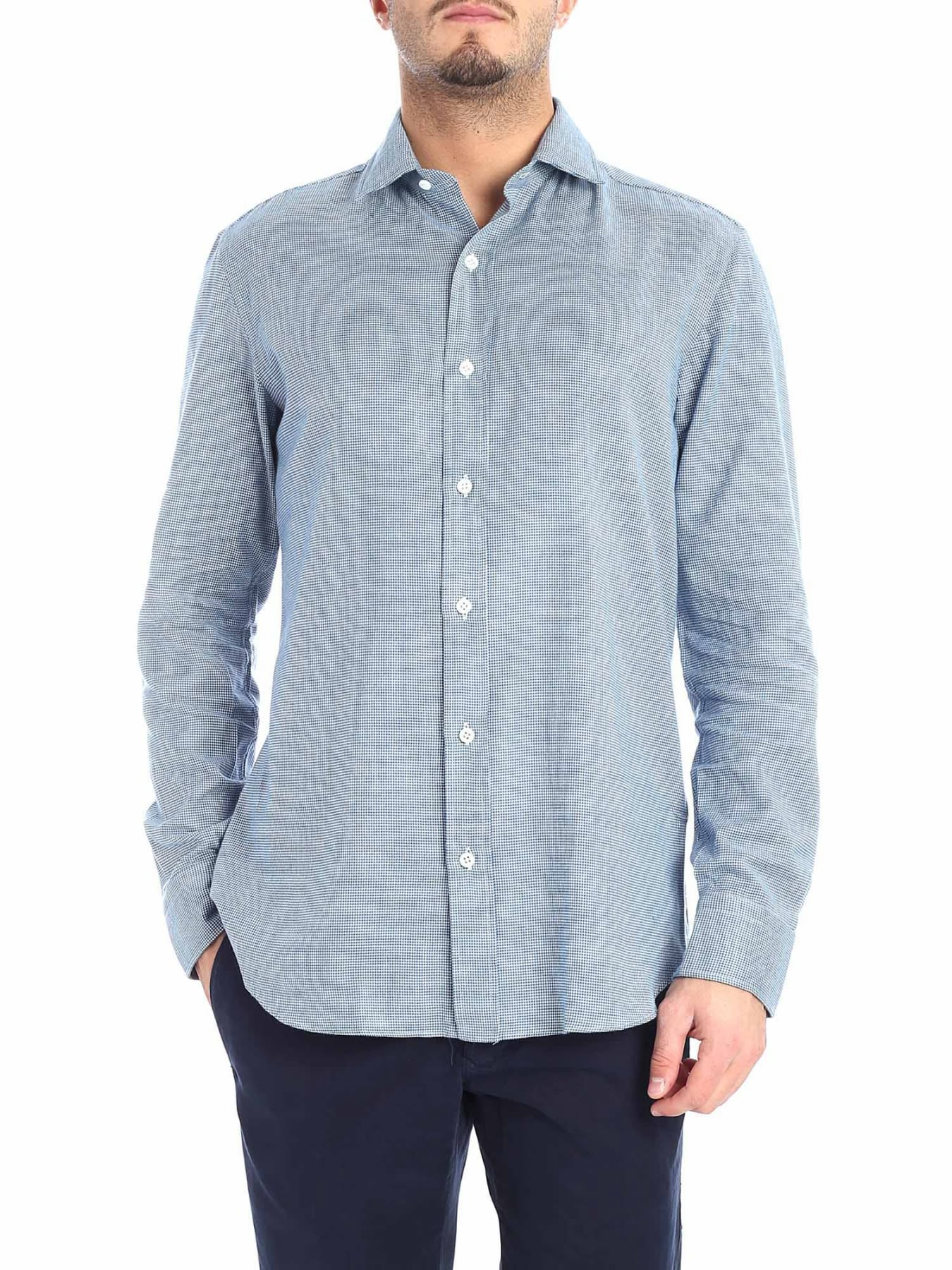 SALVATORE PICCOLO Shirt Flannel in Heavenly