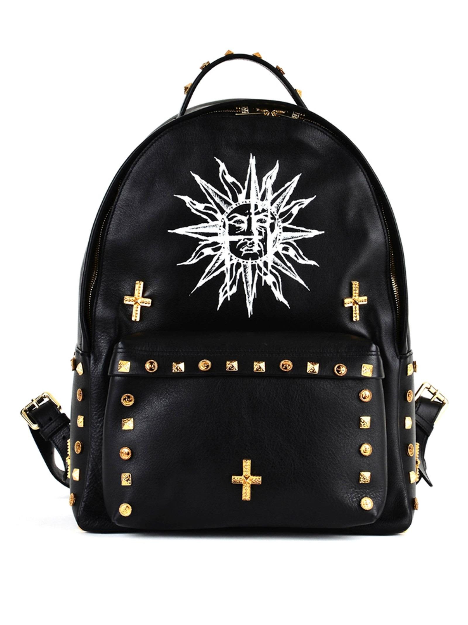 Fausto Puglisi BLACK BACKPACK IN LEATHER WITH STUDS