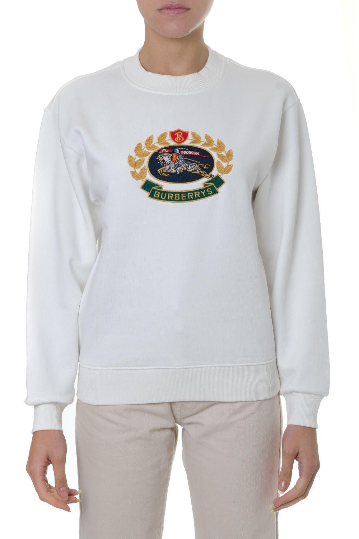 Back Sweatshirt Embroidered Fleece Cotton Blend Burberry Jersey qOBwpxHpE