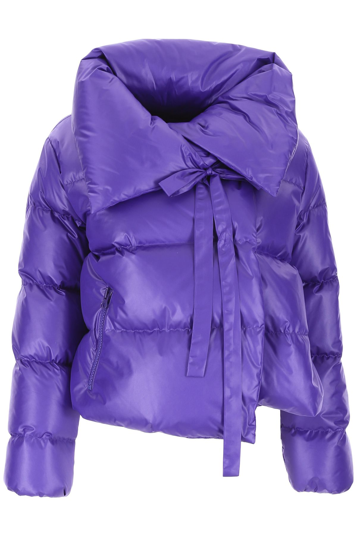 BACON CLOTHING Puffer Jacket With Bow in Purple