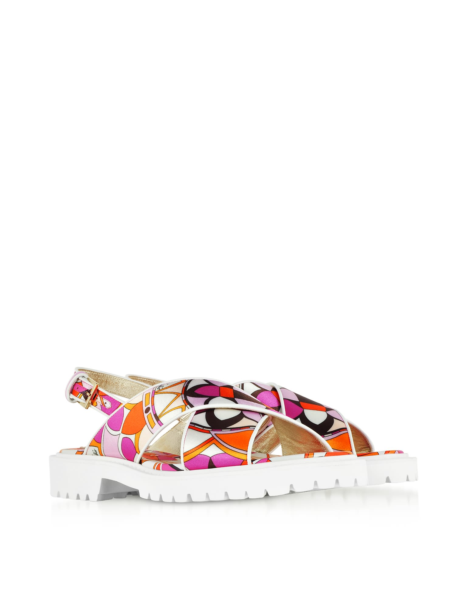 Emilio Pucci Designer Shoes, Arenal Print Twill Silk Sandals