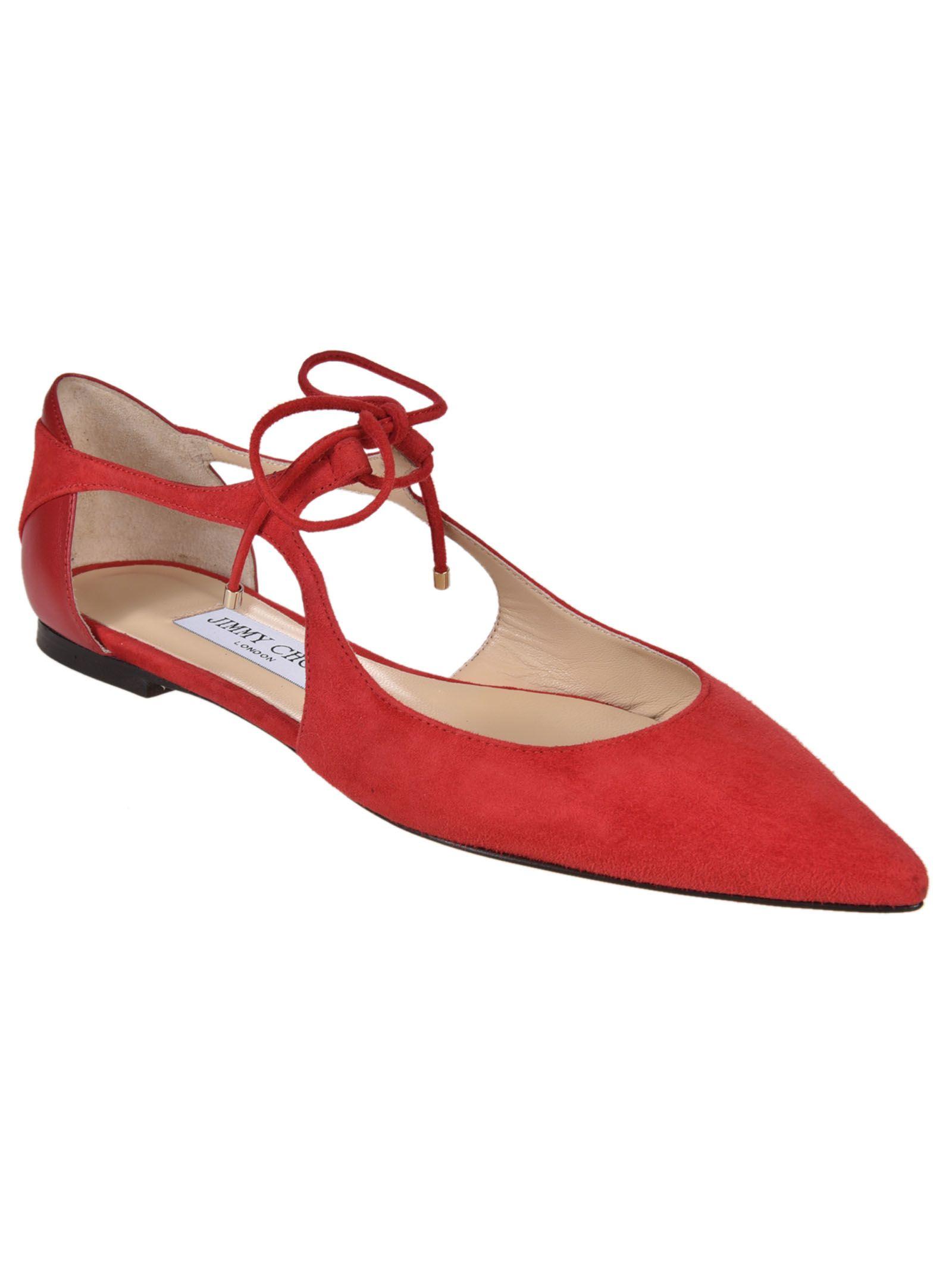 jimmy choo jimmy choo vanessa ballerinas rosso women 39 s shoes italist. Black Bedroom Furniture Sets. Home Design Ideas