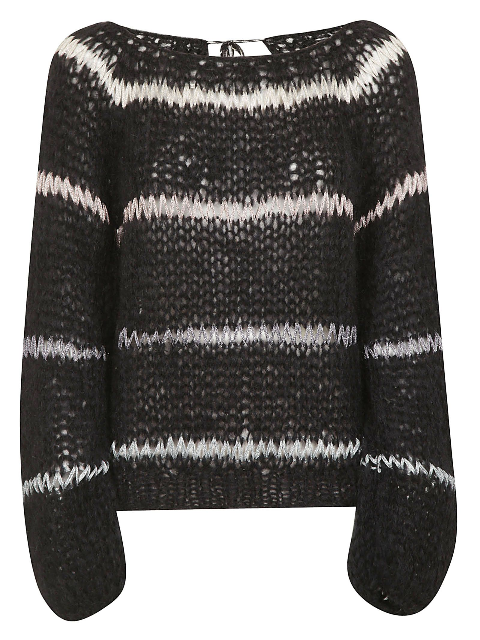 MAIAMI Maiami Perforated Sweater in Black
