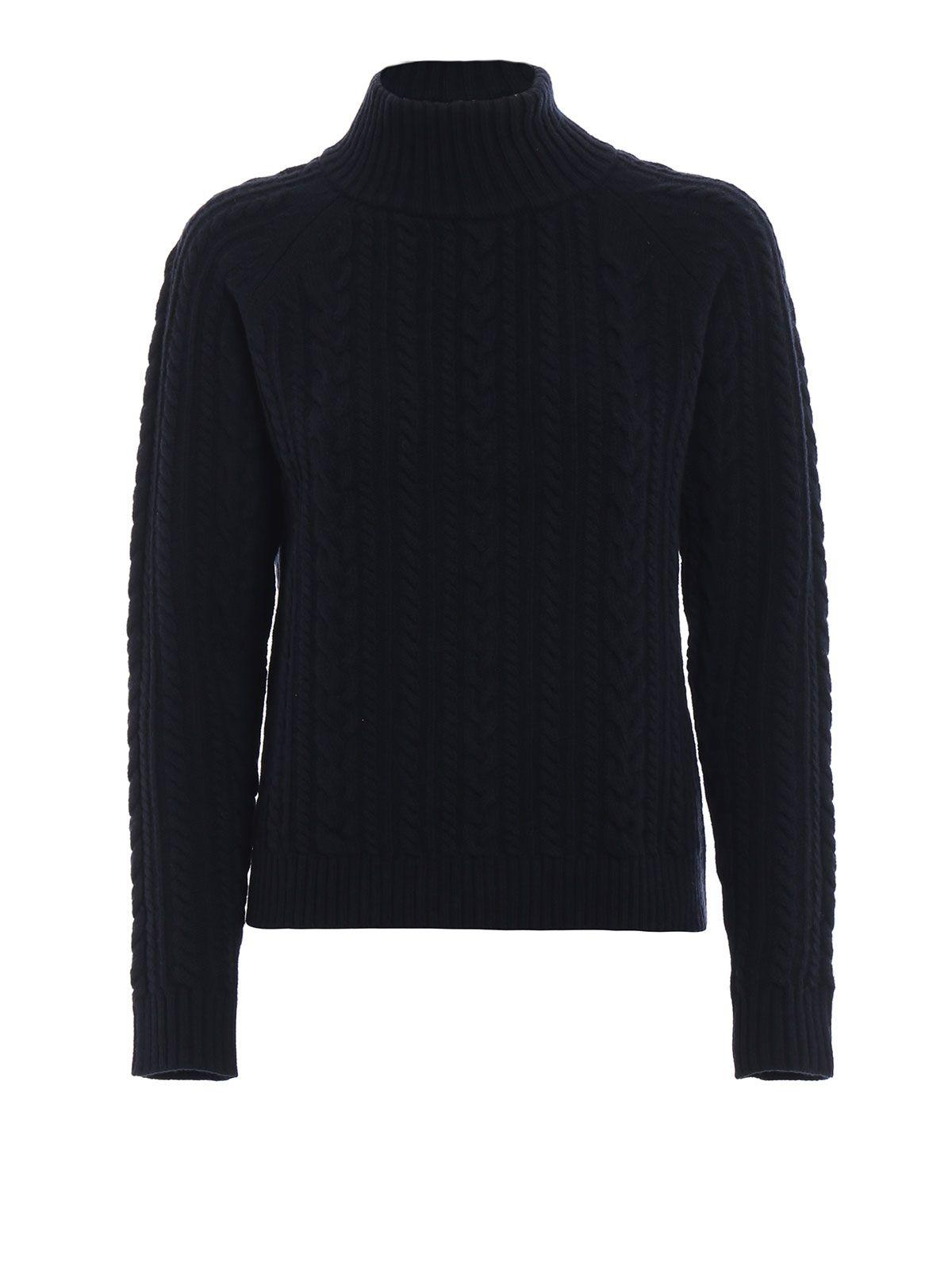 max mara - Brando Dark Blue Braided Wool Turtleneck