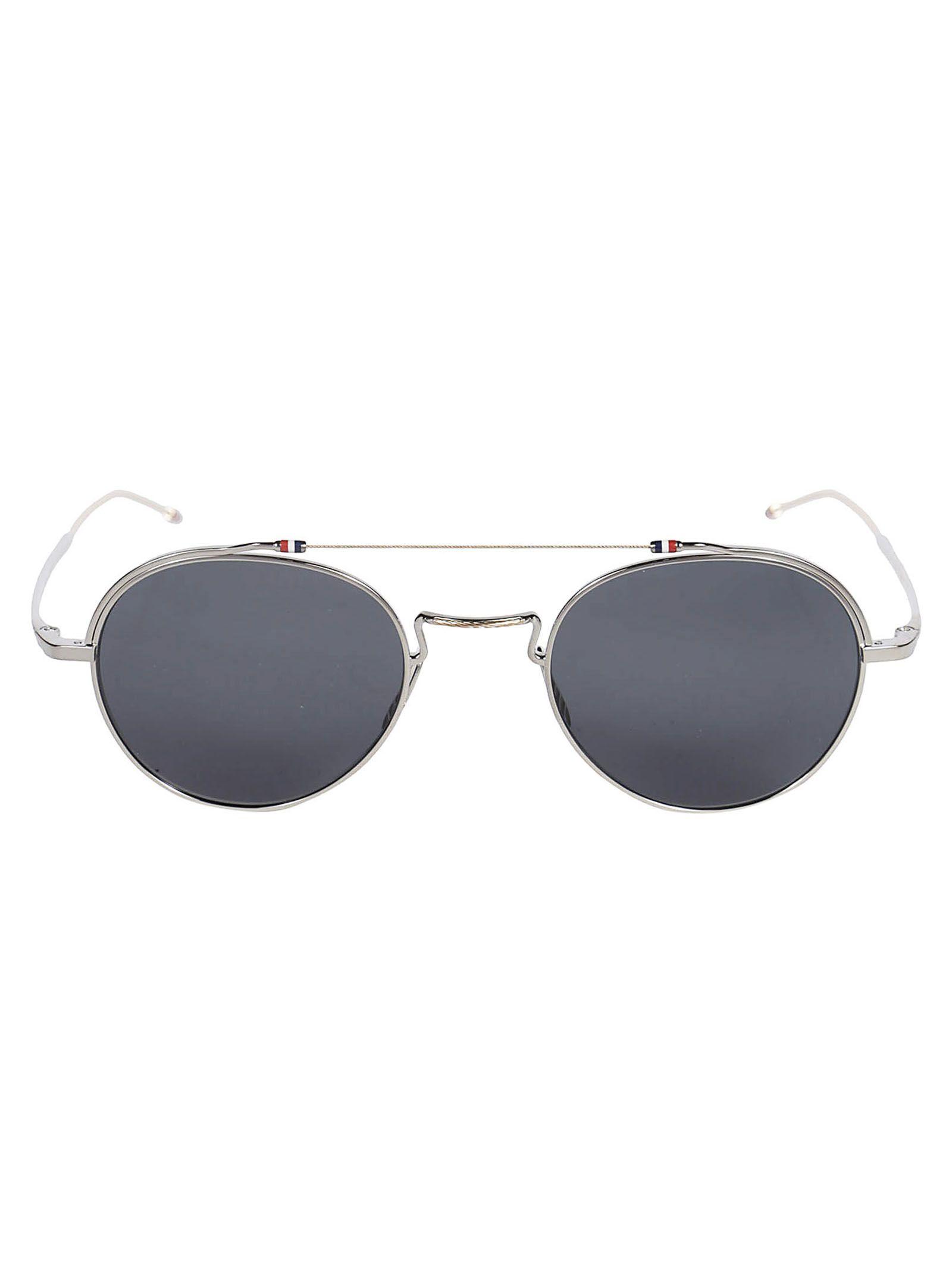 4cc2fb36da96 Thom Browne Striped Detail Sunglasses In Silver White Gold ...