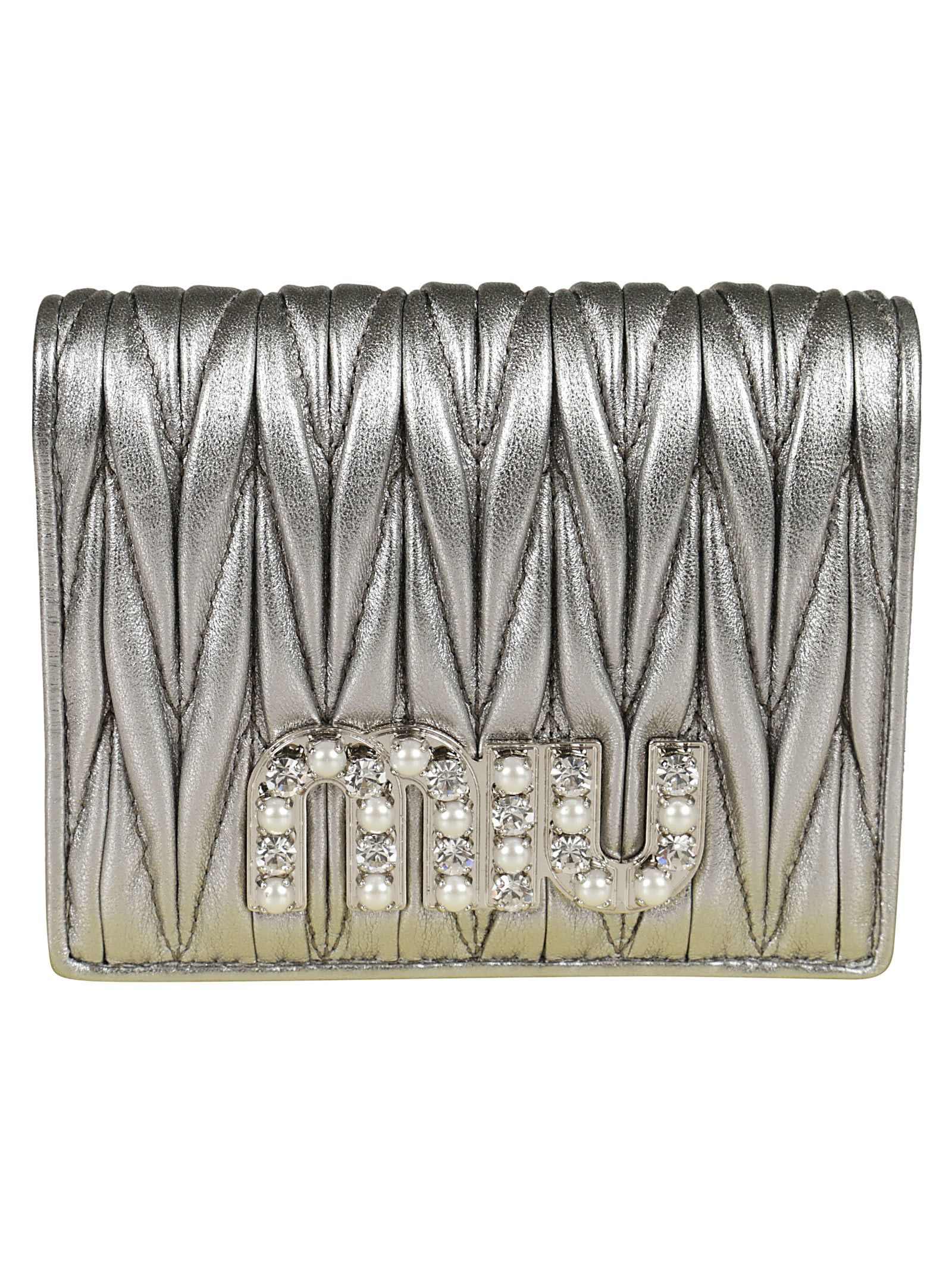 Wallet for Women On Sale, Cromo Grey, Leather, 2017, One size Miu Miu