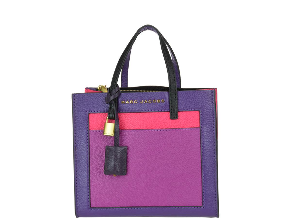 The Mini Grind Colorblocked Bag In Multicolor Purple Calfskin