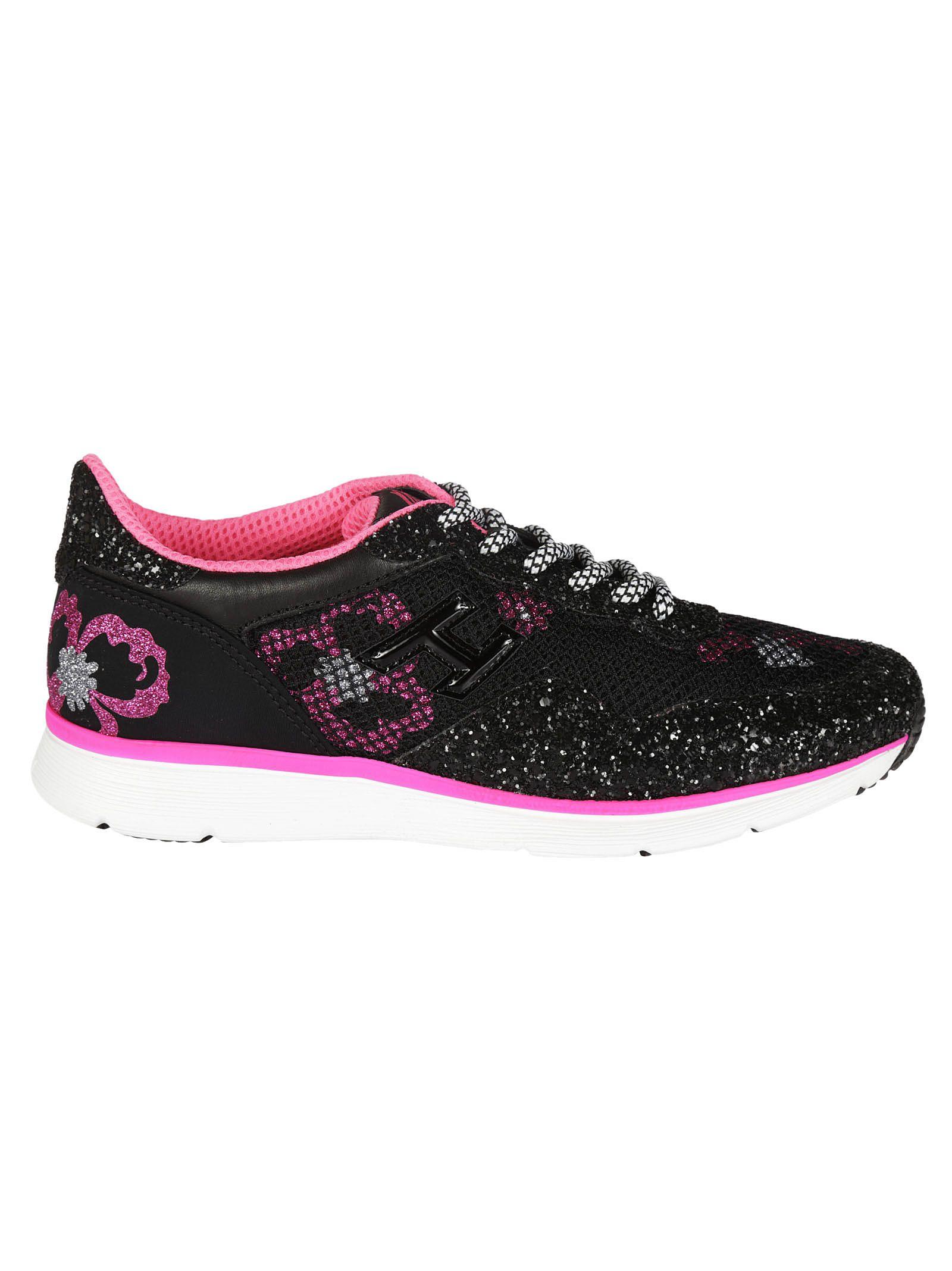 floral glitter-effect sneakers - Black Hogan AzfnyPT