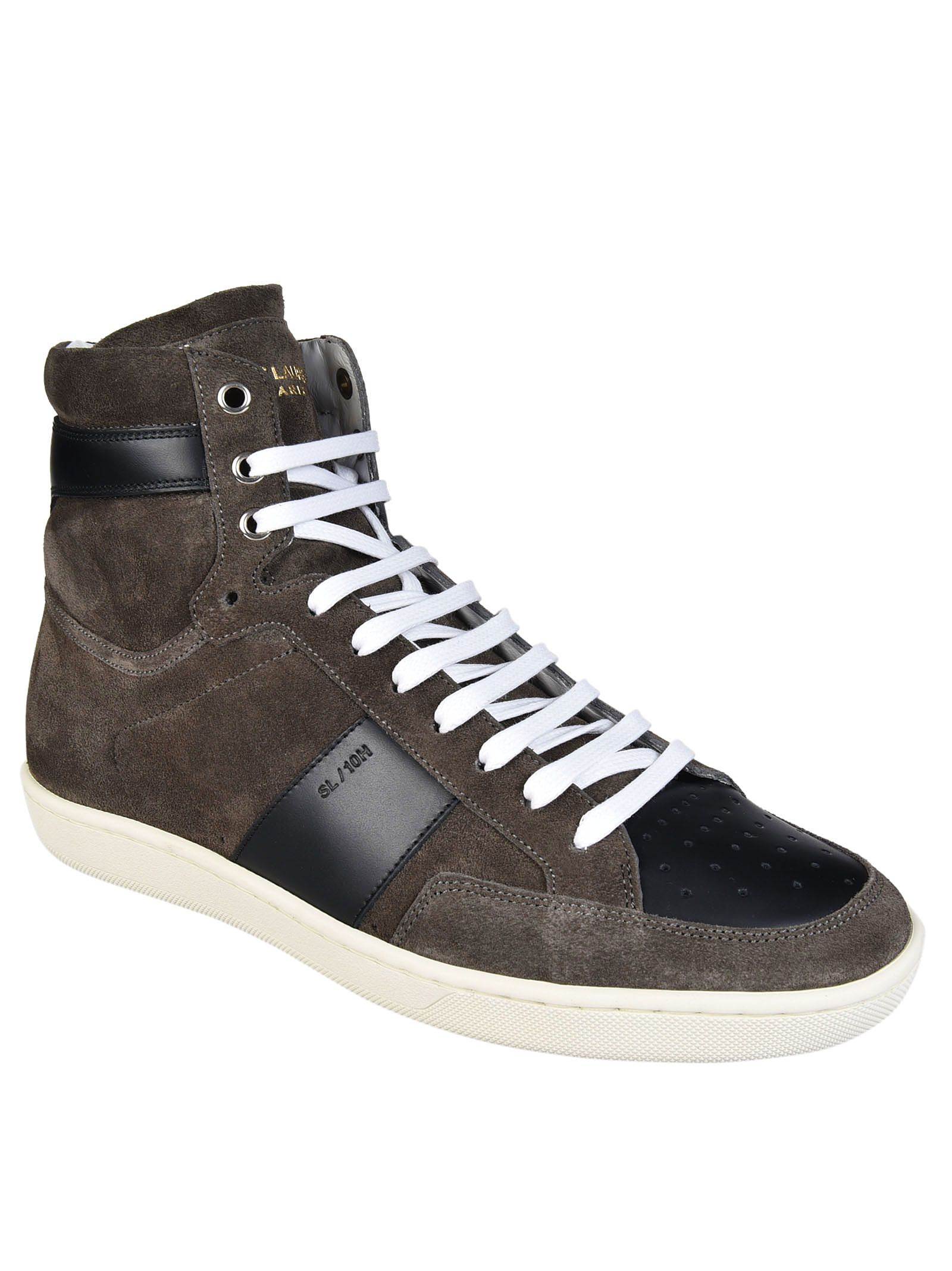 Saint Laurent - Saint Laurent Paris Hi-Top Sneakers - Brown, Men's Sneakers | Italist