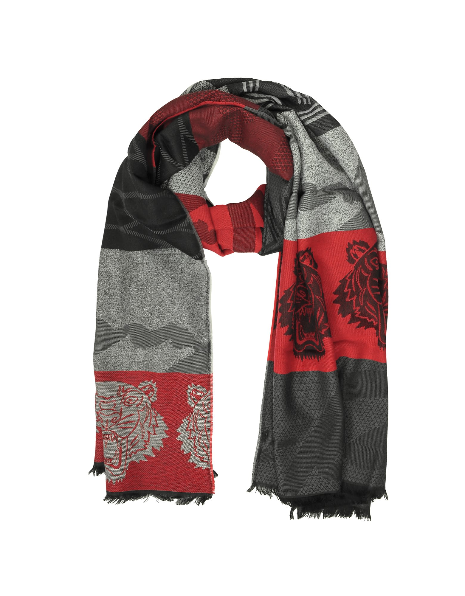 RED WOOL INTARSIA TIGER SCARF