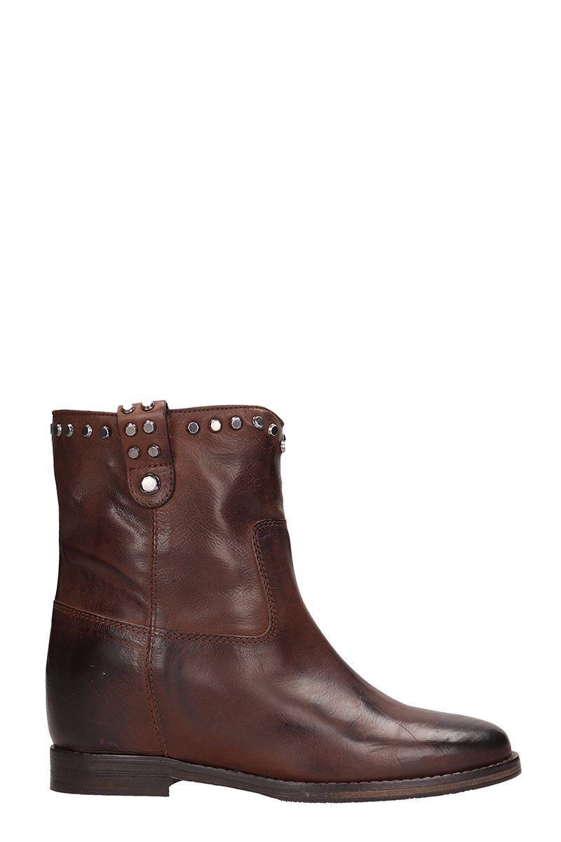 JULIE DEE Brown Leather Ankle Boots