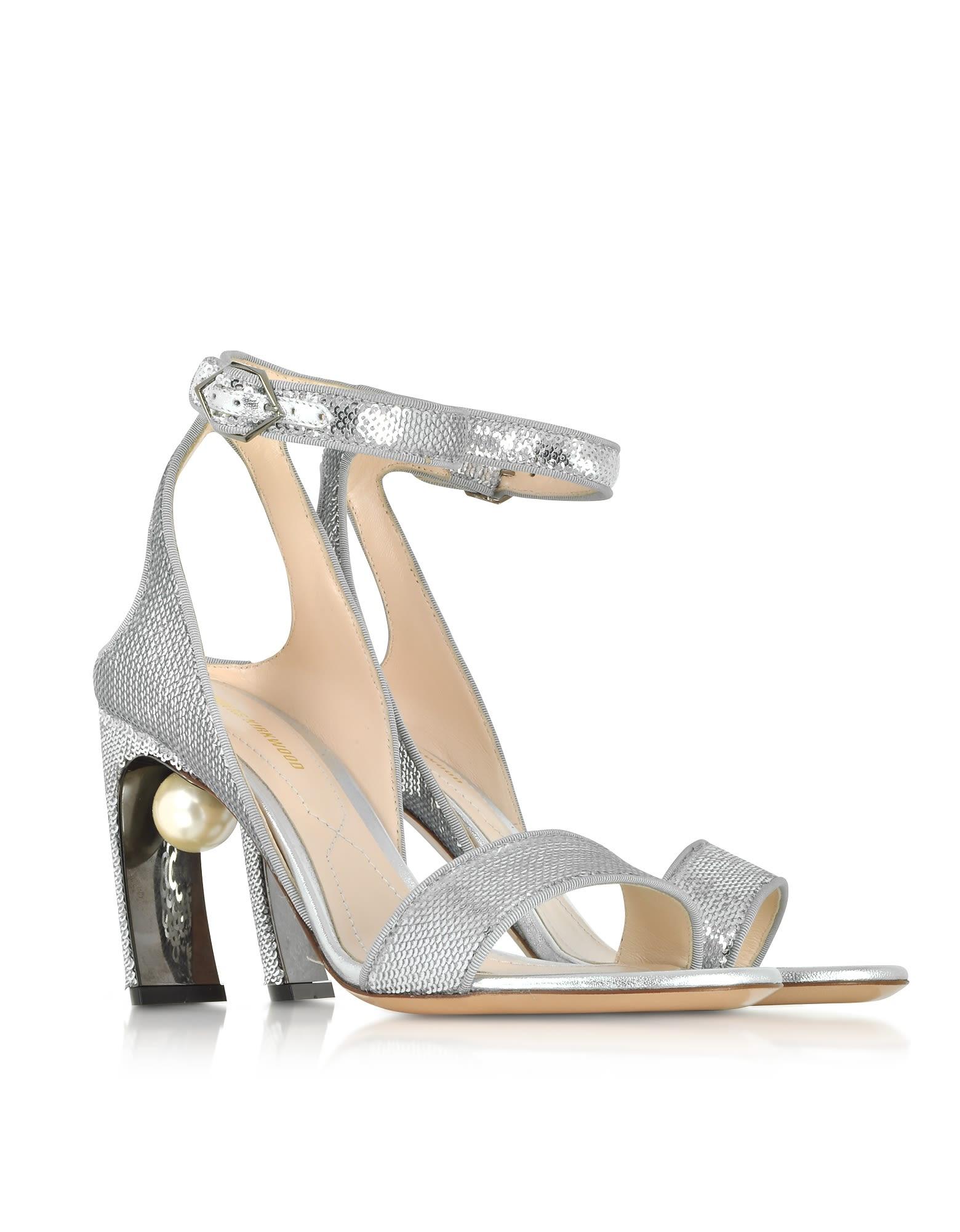 Nicholas Kirkwood Designer Shoes, Sequins 90mm Lola Pearl Sandals
