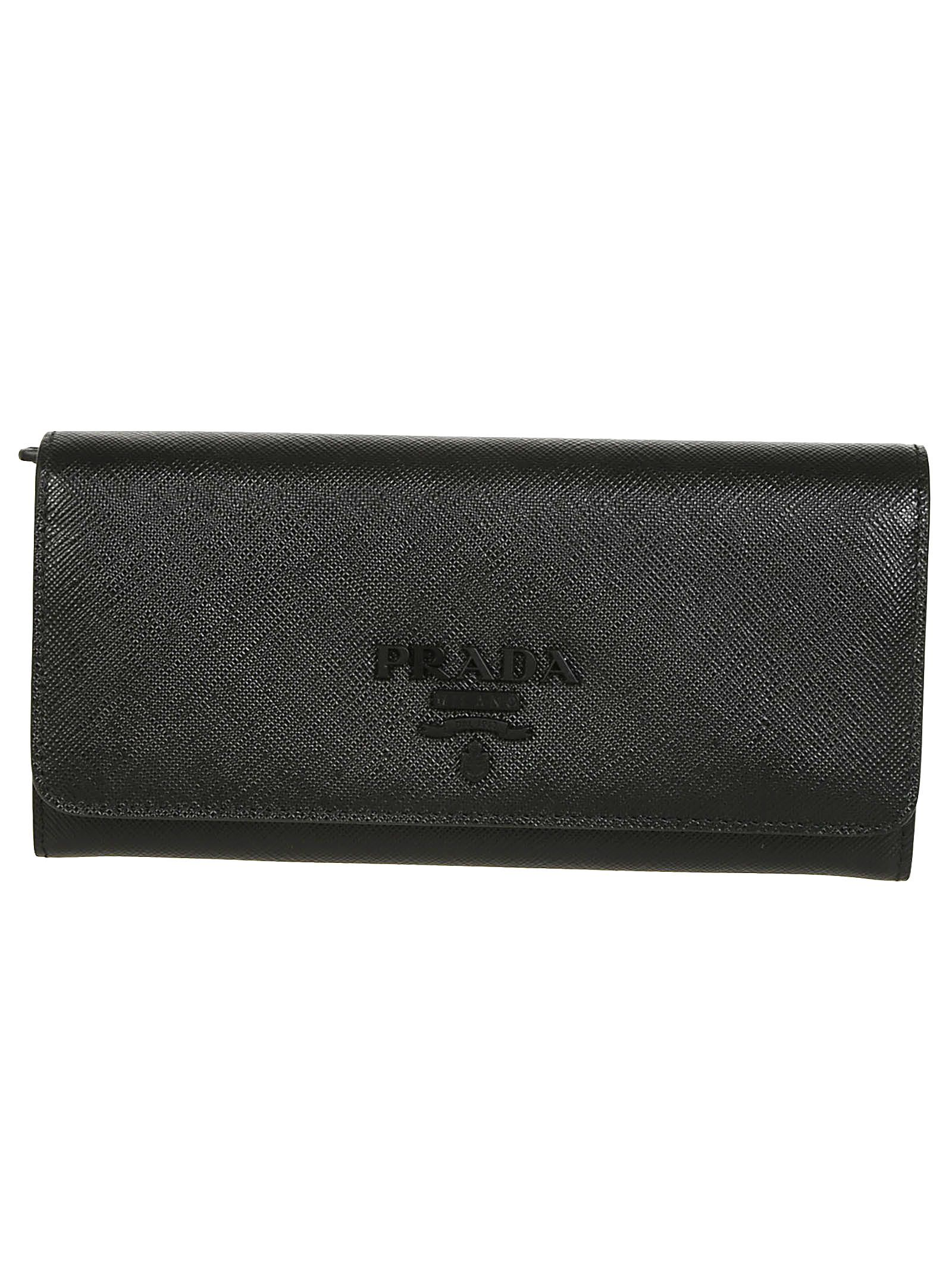 Black Plaque Prada Wallet In Continental Logo 4wSq6