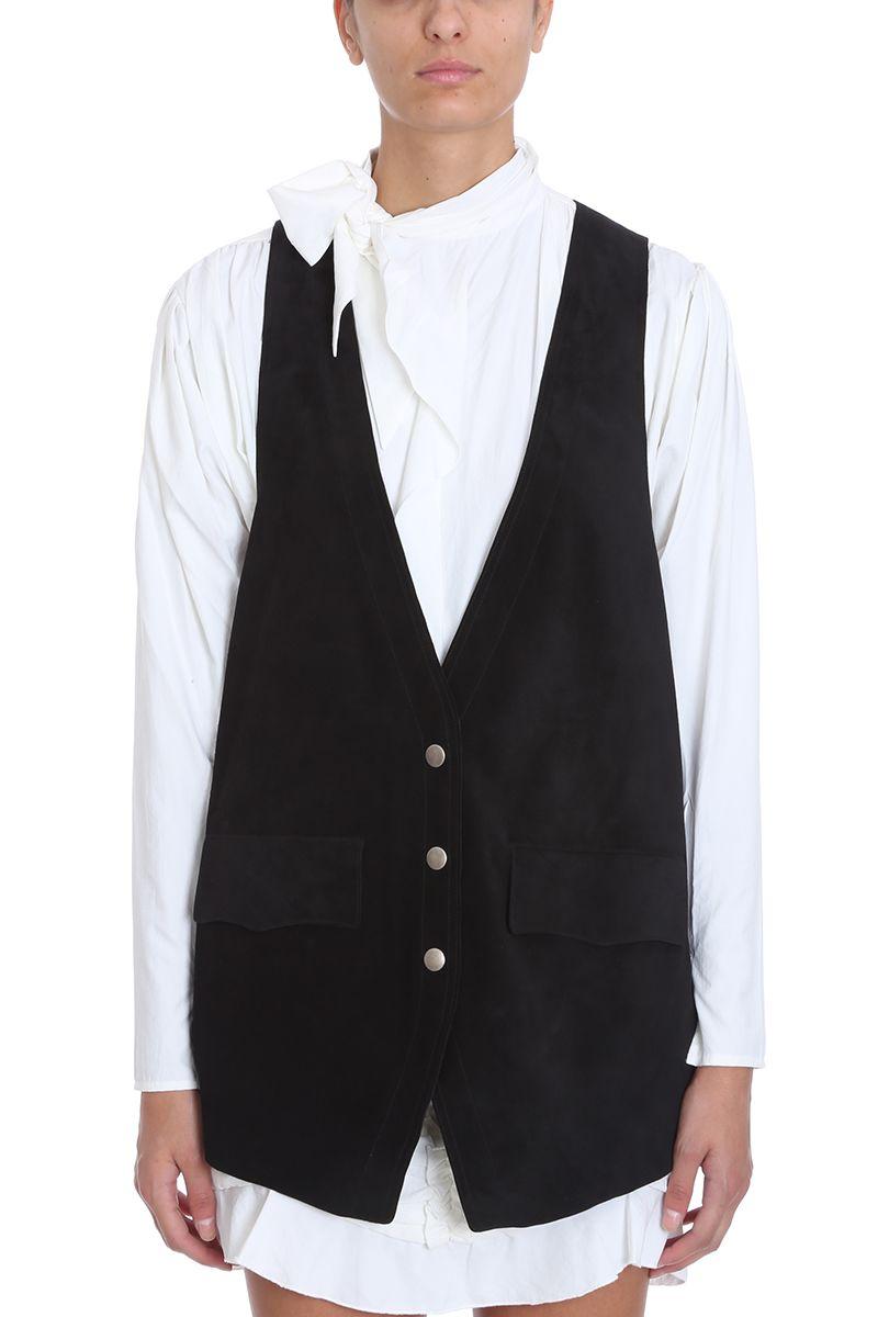 Dabney Tailored Leather Vest, Black