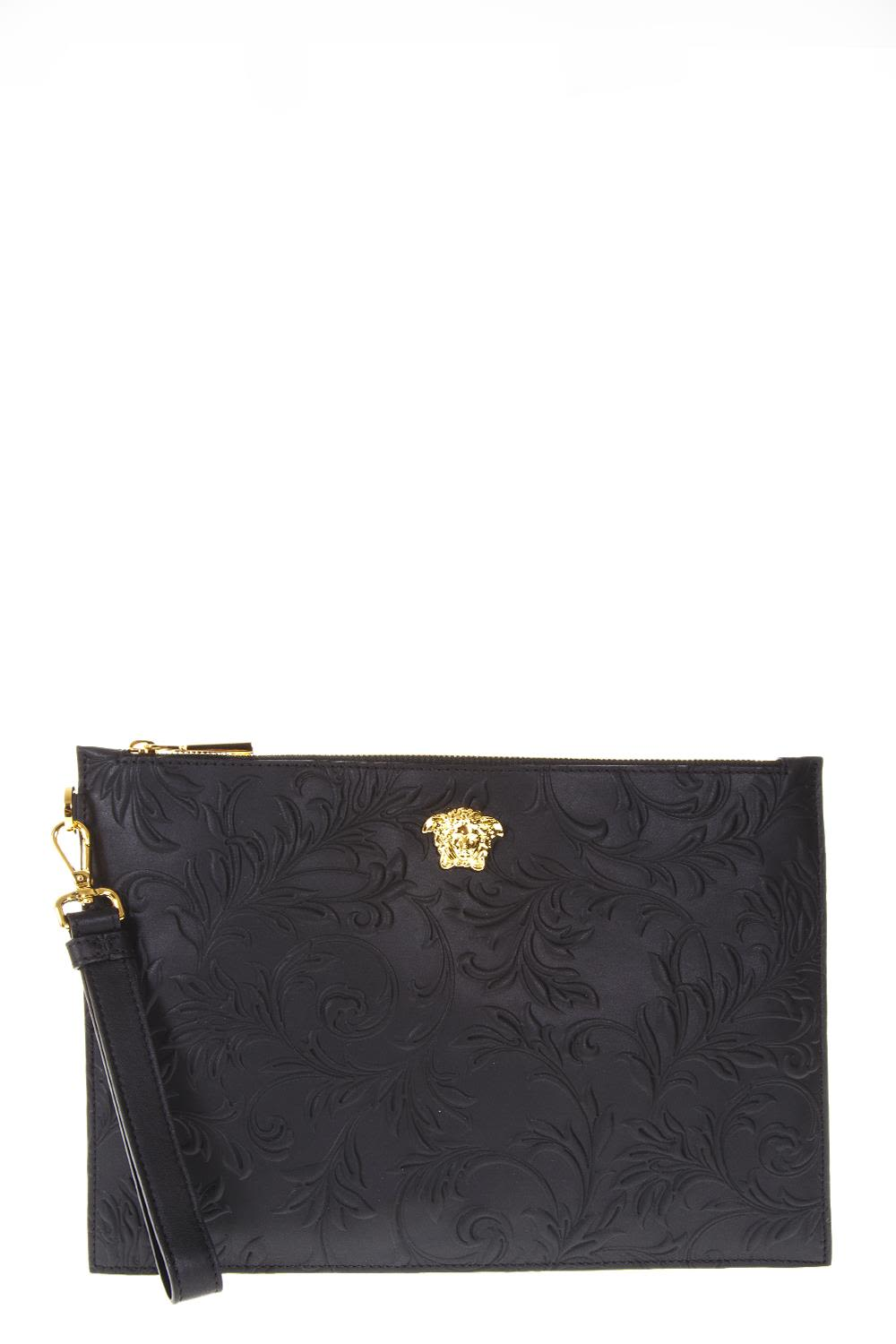 VERSACE BLACK MEDUSA EMBOSSED FLOWER CLUTCH IN LEATHER