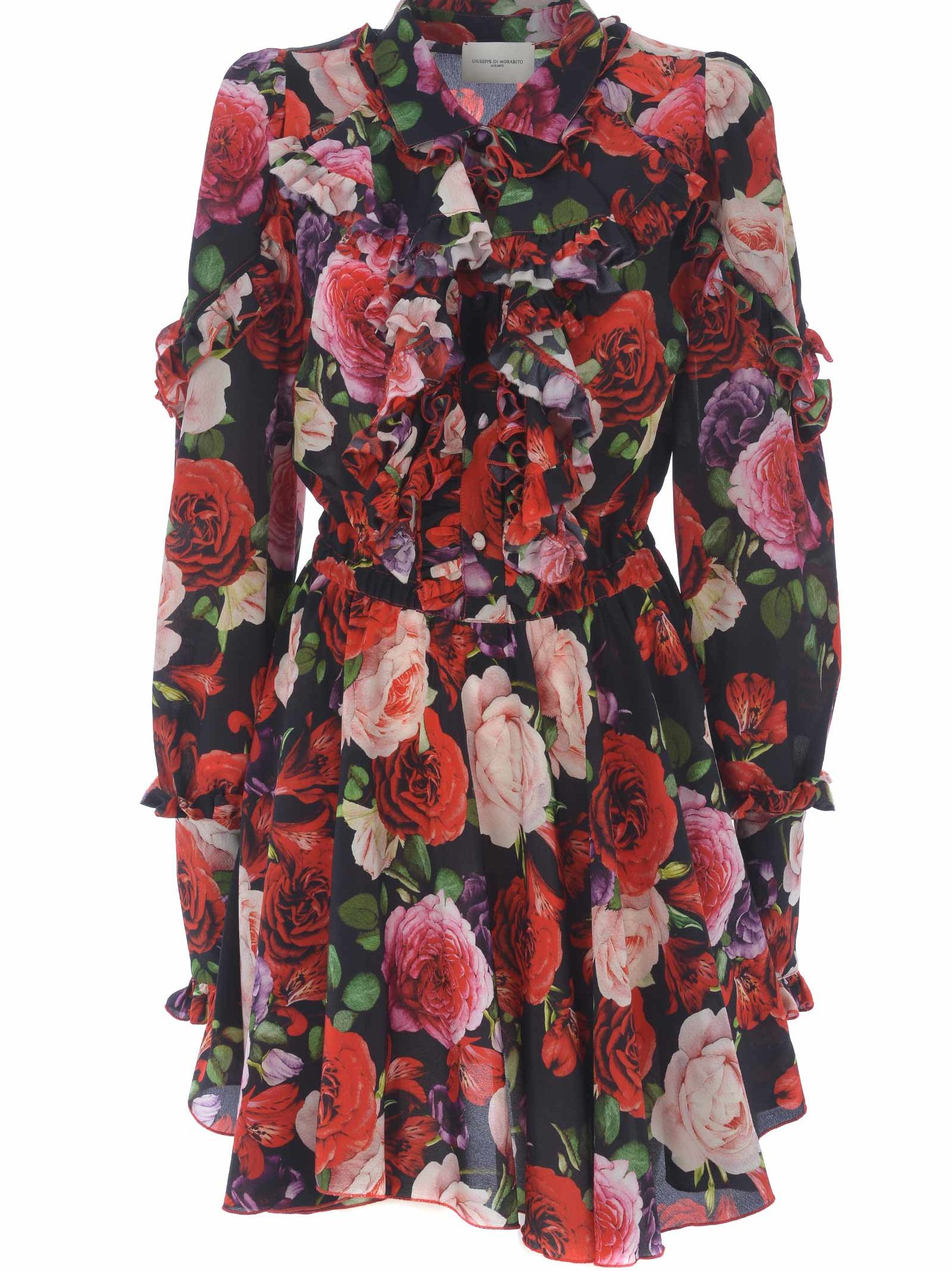 GIUSEPPE DI MORABITO Giuseppe Di Morabito Floral Flared Dress in Nero-Rosso