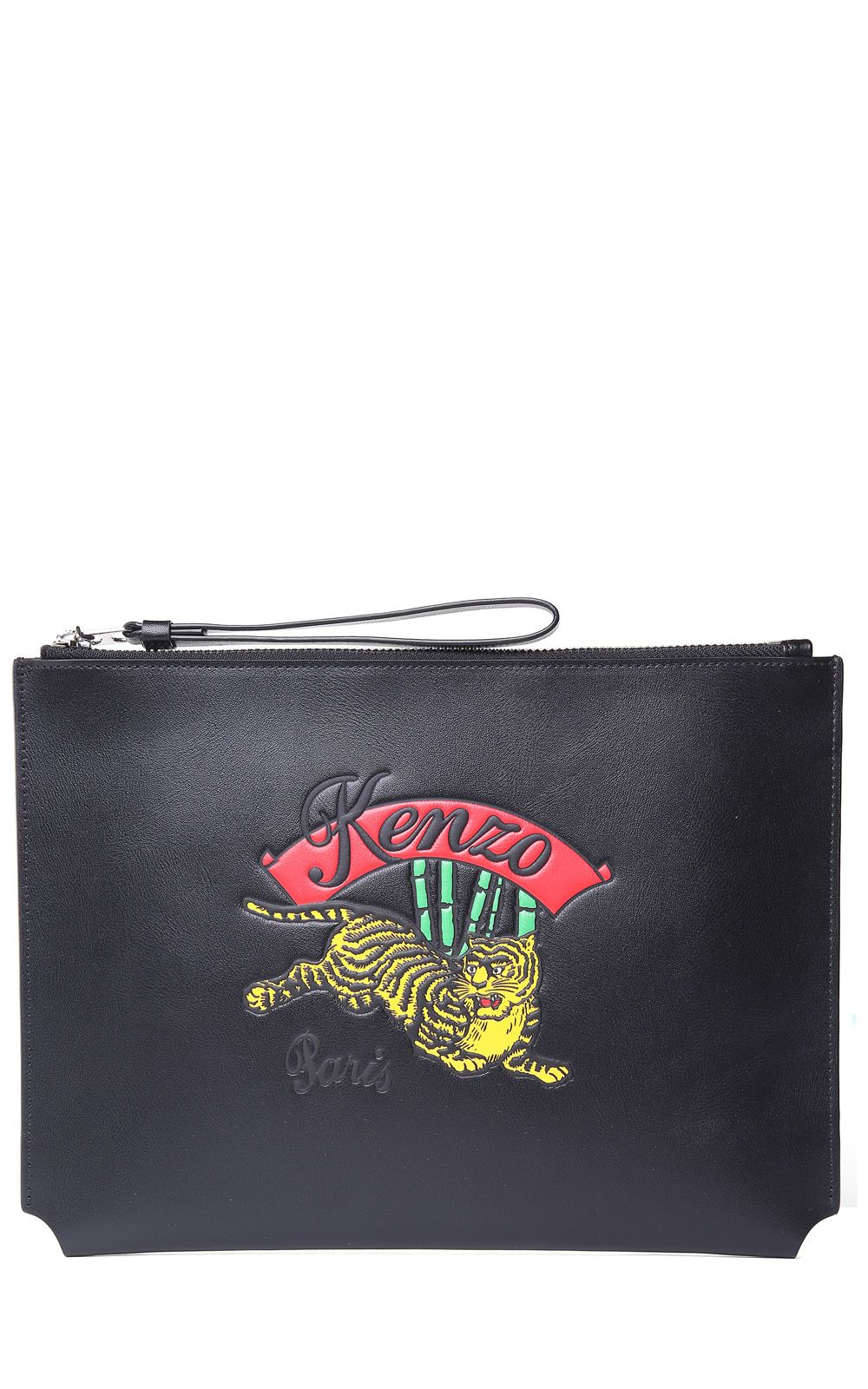 JUMPING TIGER LEATHER CLUTCH