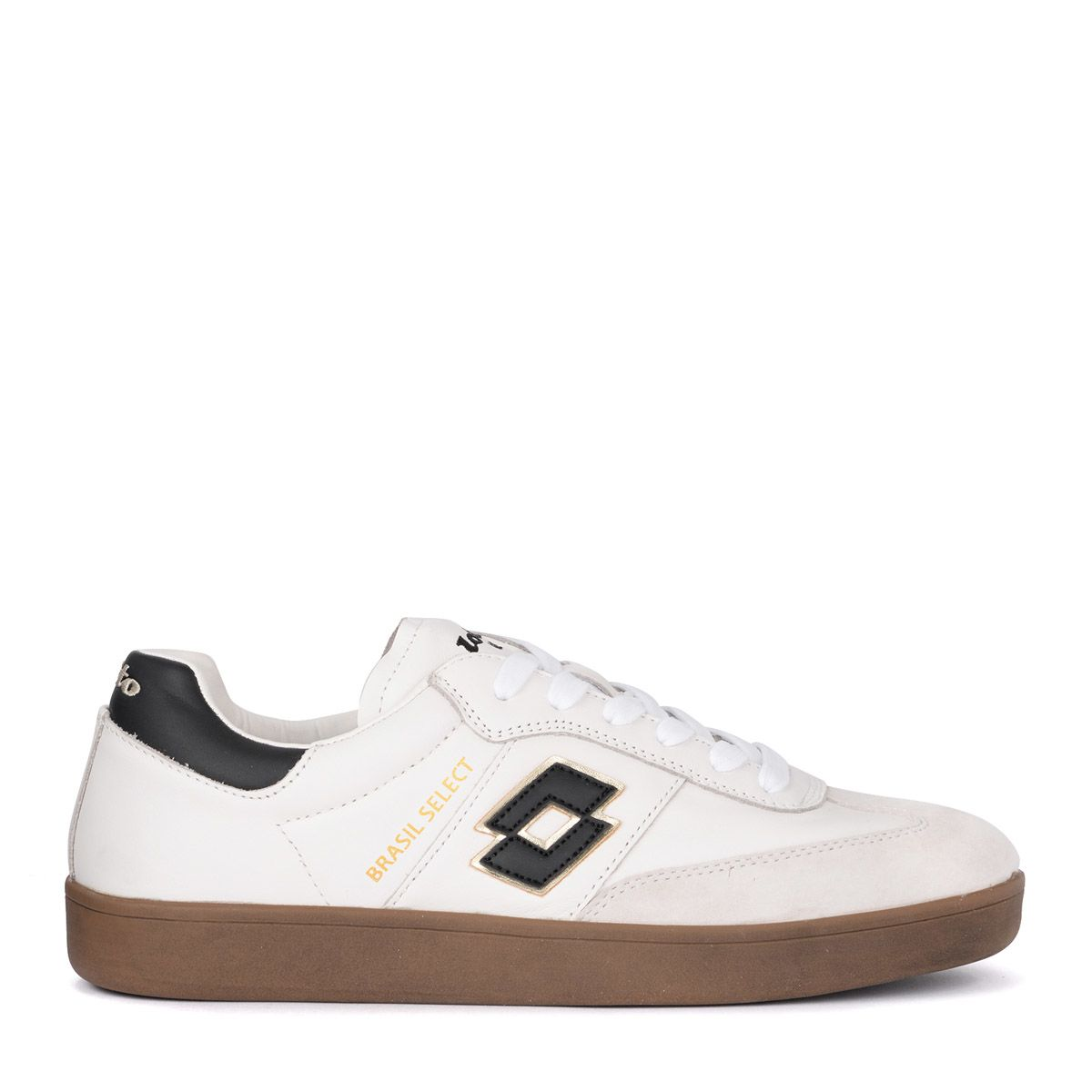 LOTTO LEGGENDA Lotto Brasil Select Black And White Leather Sneaker in Bianco