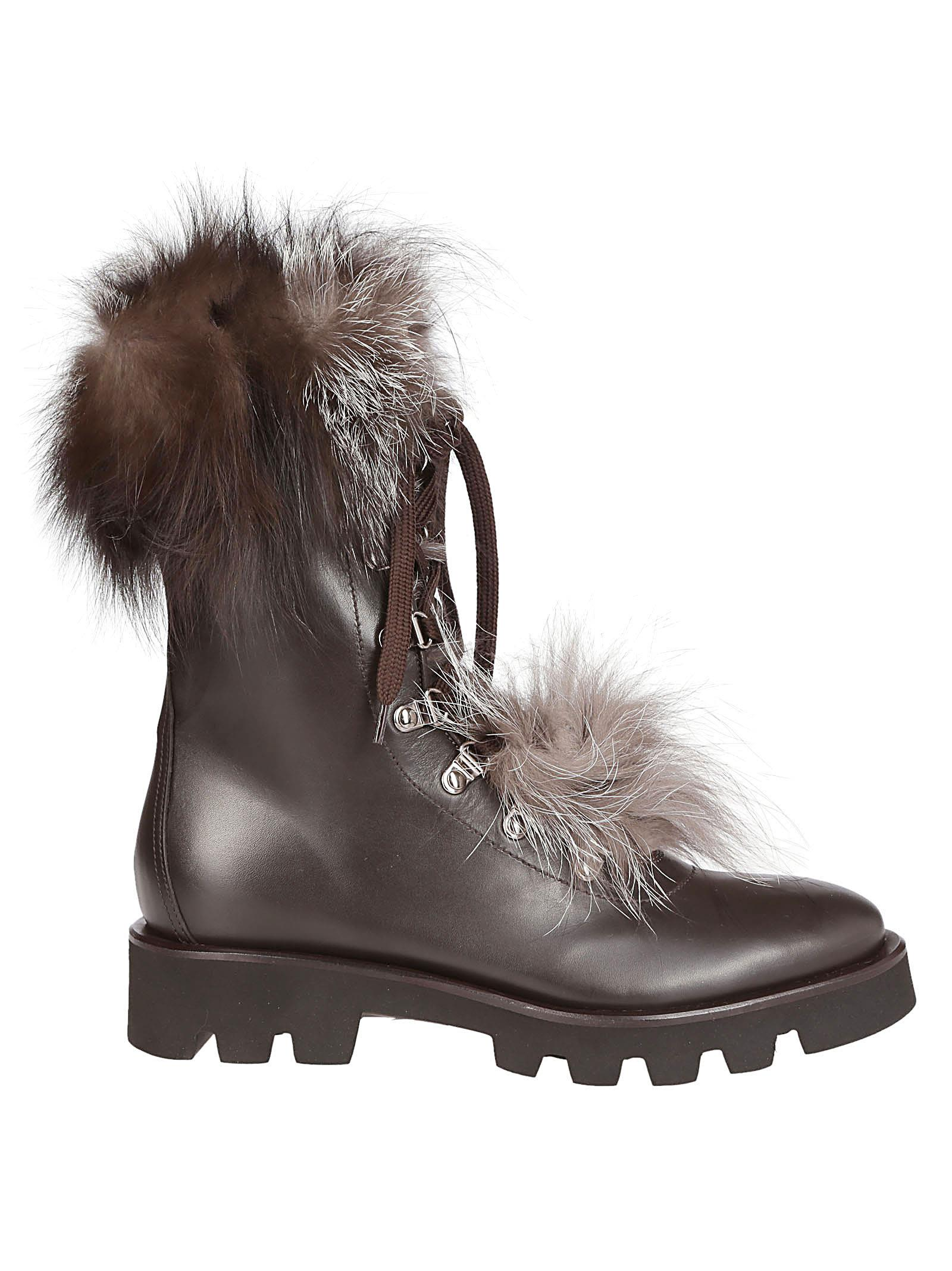 FABIANA FILIPPI FUR TRIMMED LACE-UP BOOTS
