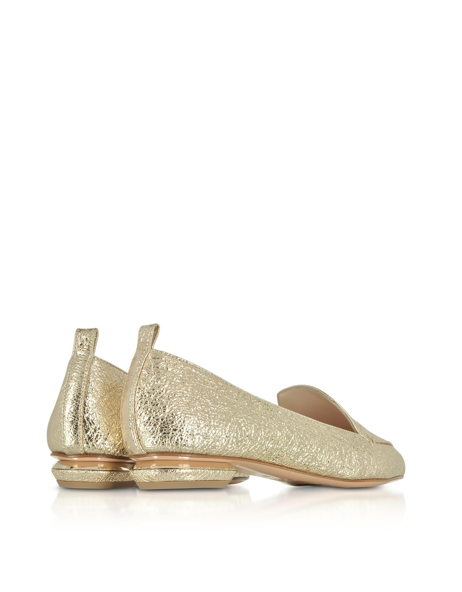 Nicholas Kirkwood Designer Shoes, Platino Crinkly Metallic Leather 18mm Beya Loafers