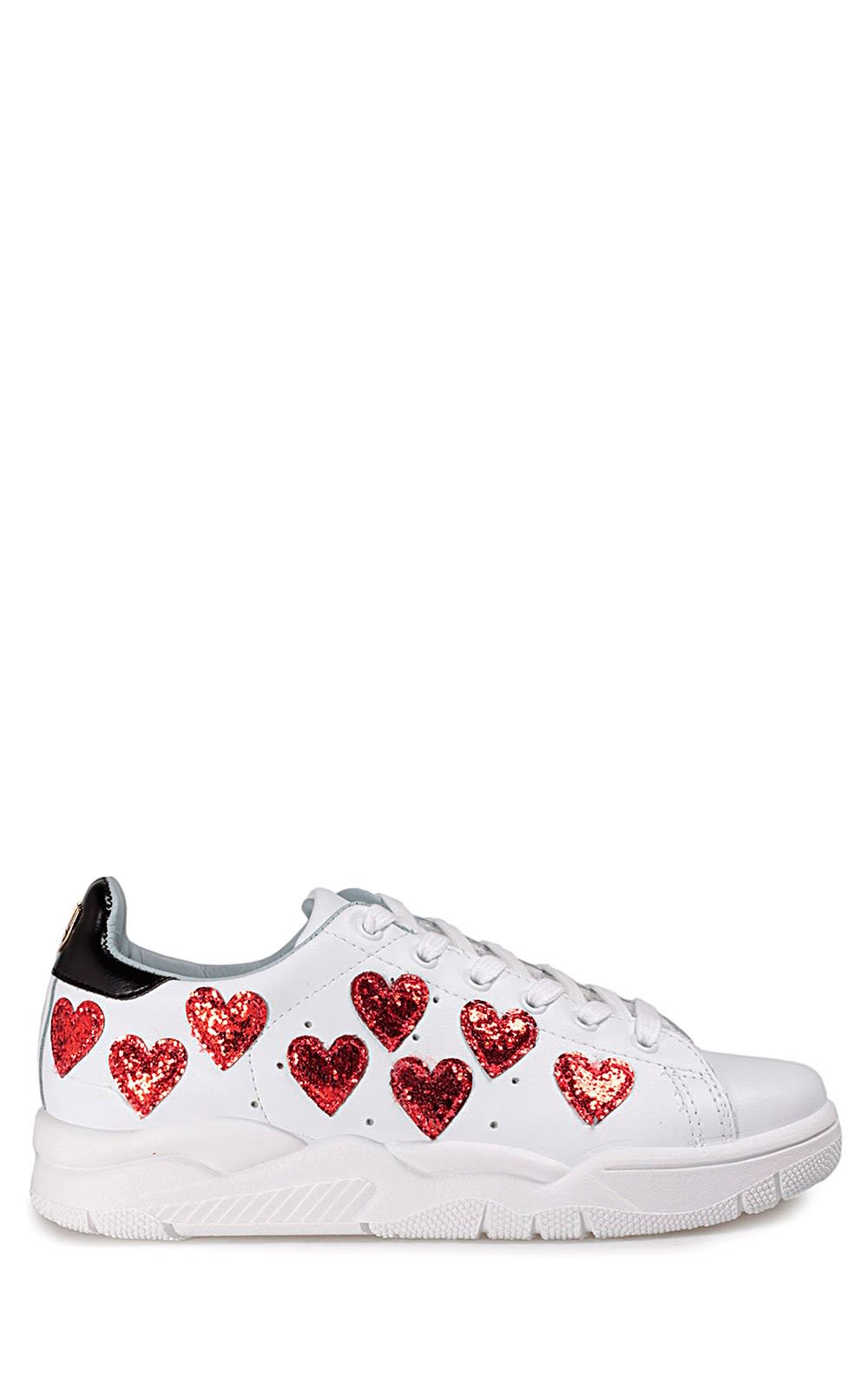 Roger glittered-hearts leather sneakers Chiara Ferragni i6Zyl0