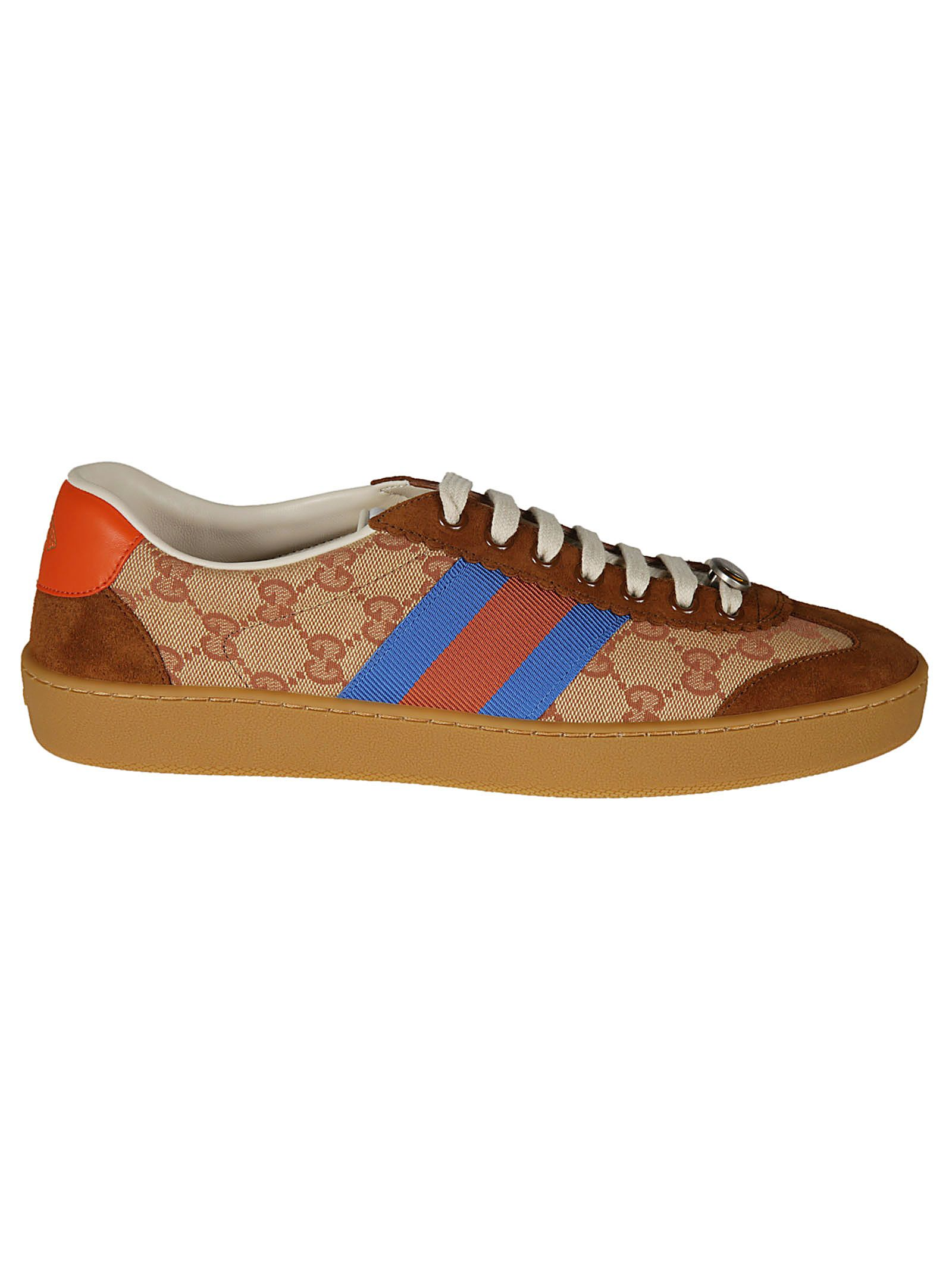 Gucci Web-Striped Canvas & Suede Sneakers - Brown Size 12 M In Blue