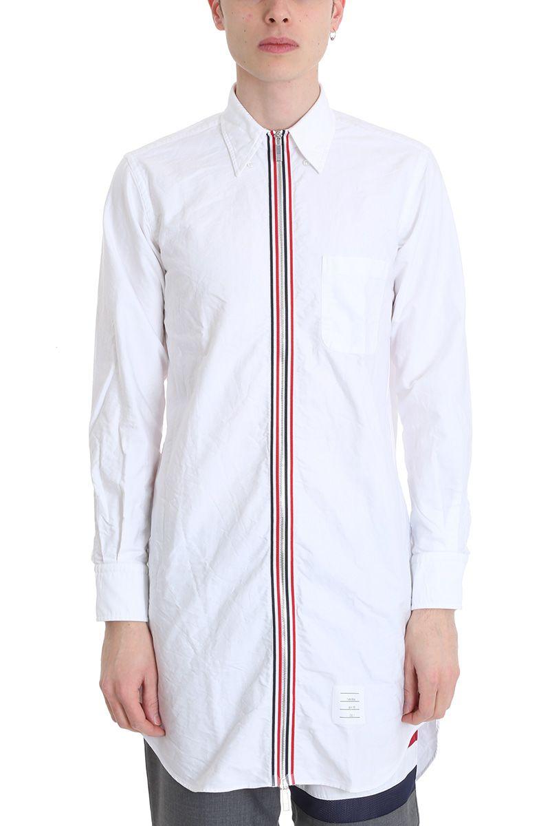 Thom browne thom browne white cotton shirt white men for Thom browne white shirt