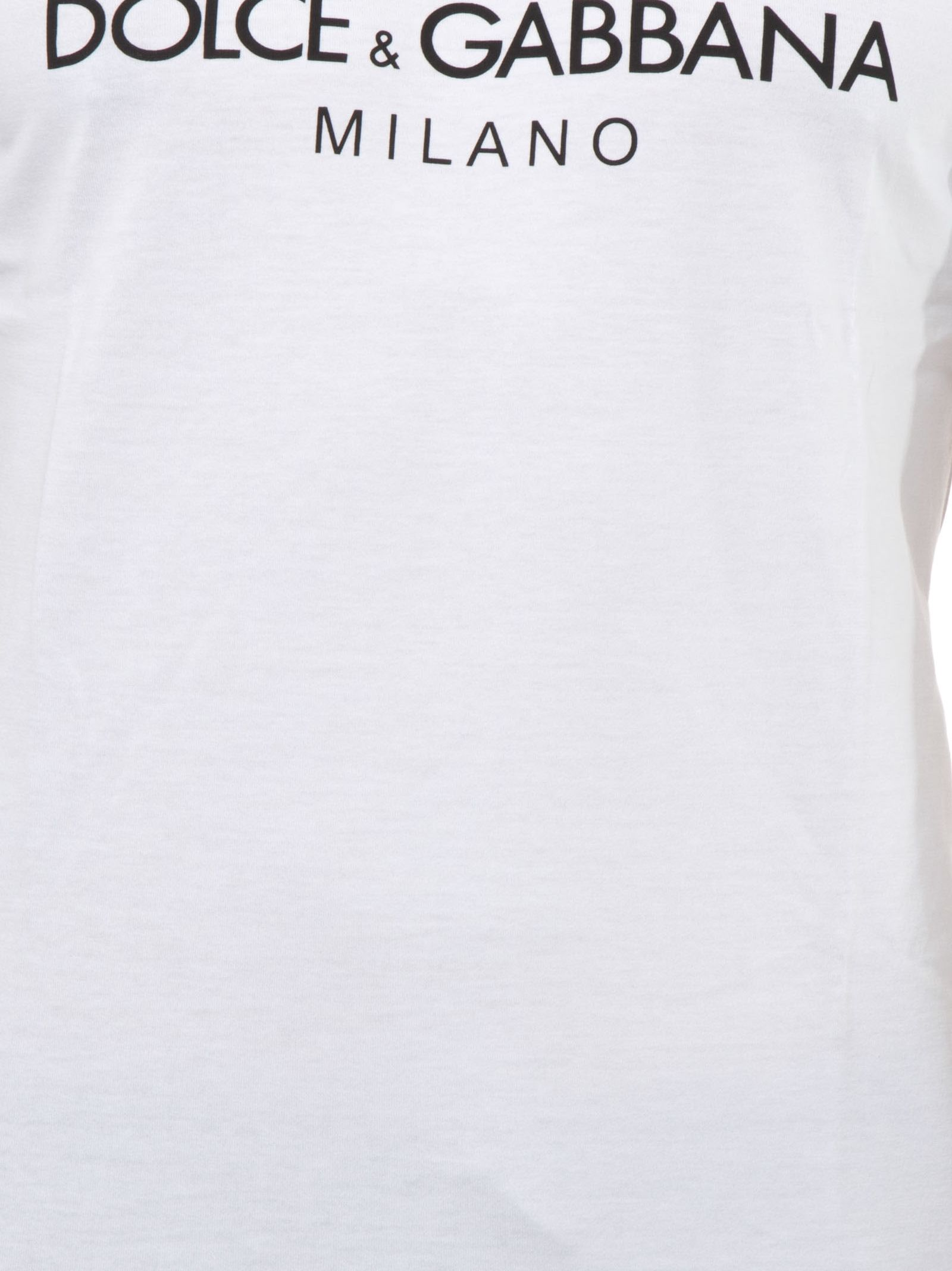 Dolce & Gabbana White Cotton T-shirt With Dolce & Gabbana Crown Print