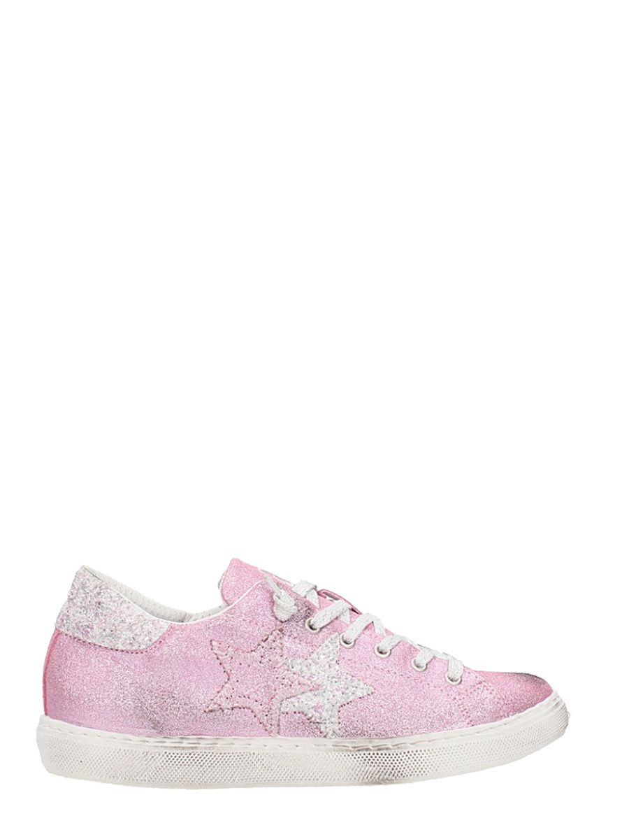 2star female 2star low glitter pink leather sneakers