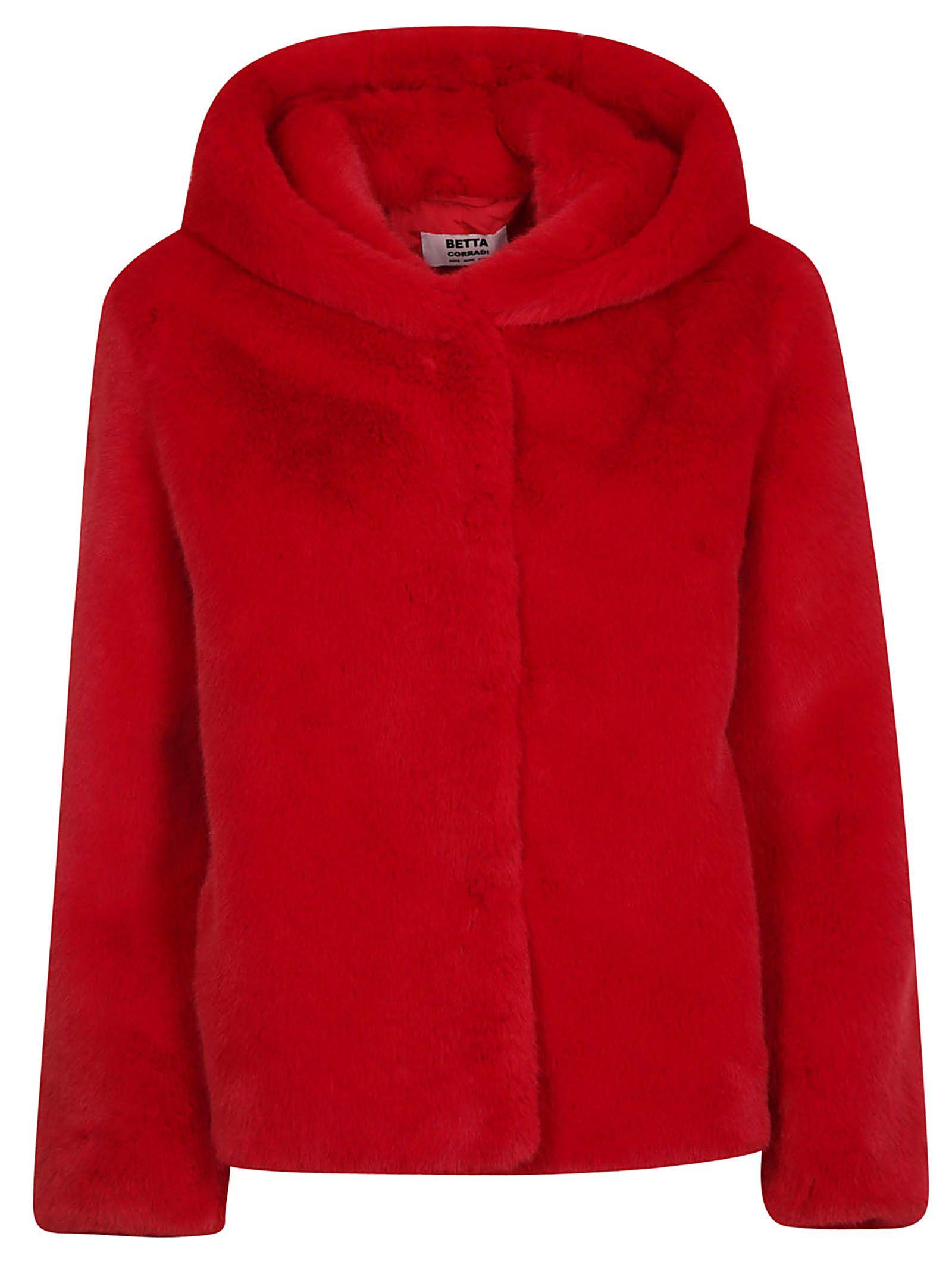 BETTA CORRADI Fur Hooded Jacket in Red
