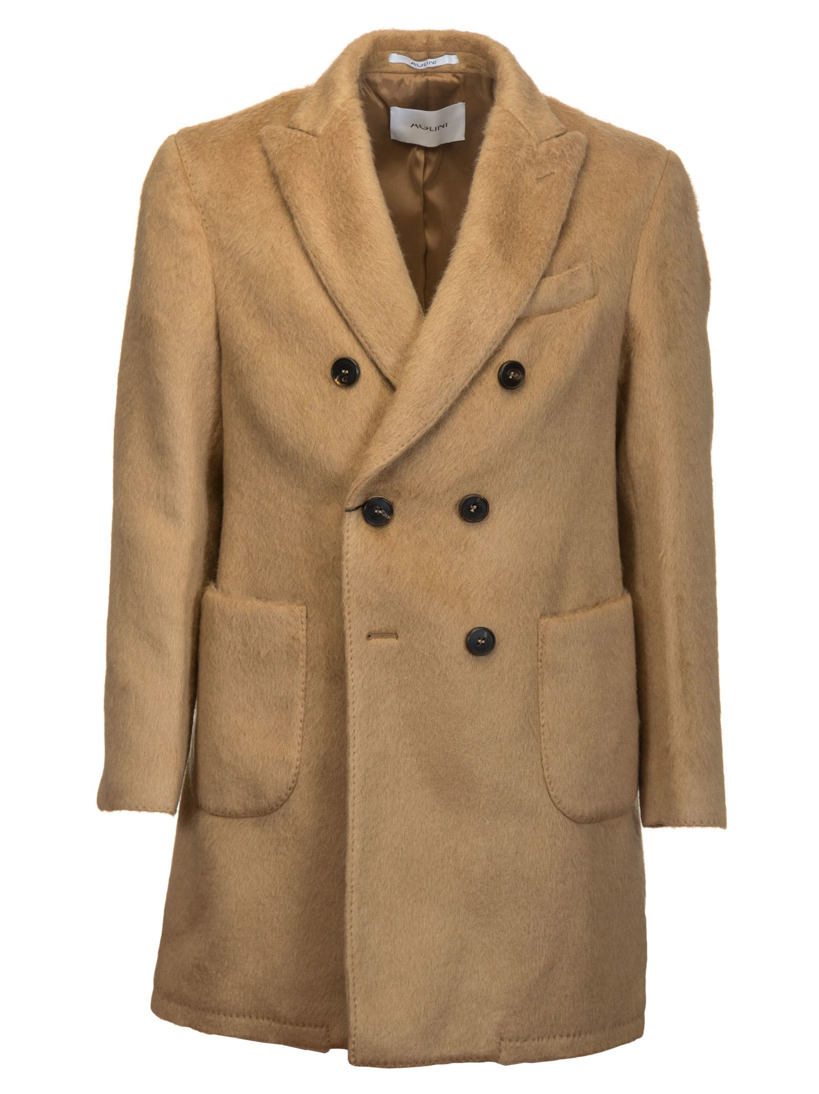 AGLINI Double Breasted Coat in Brown