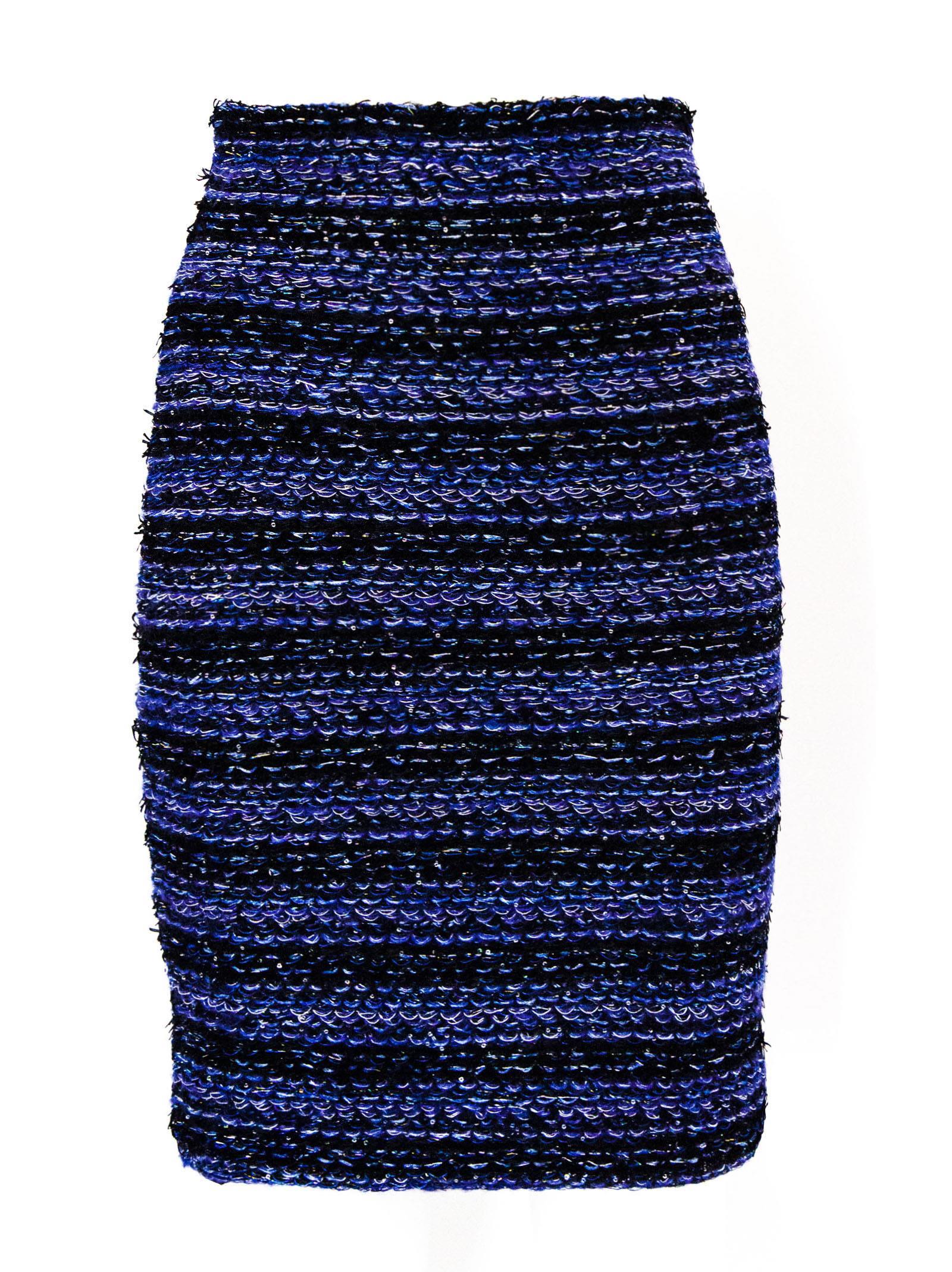 Striped Tweed Pencil Skirt.