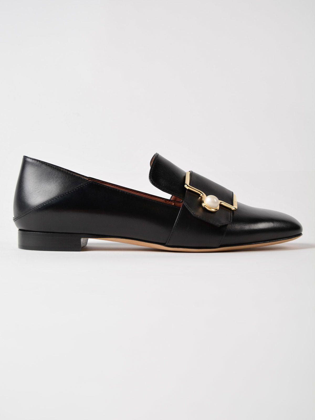 Maelle Black, Womens calf leather slipper in black Bally