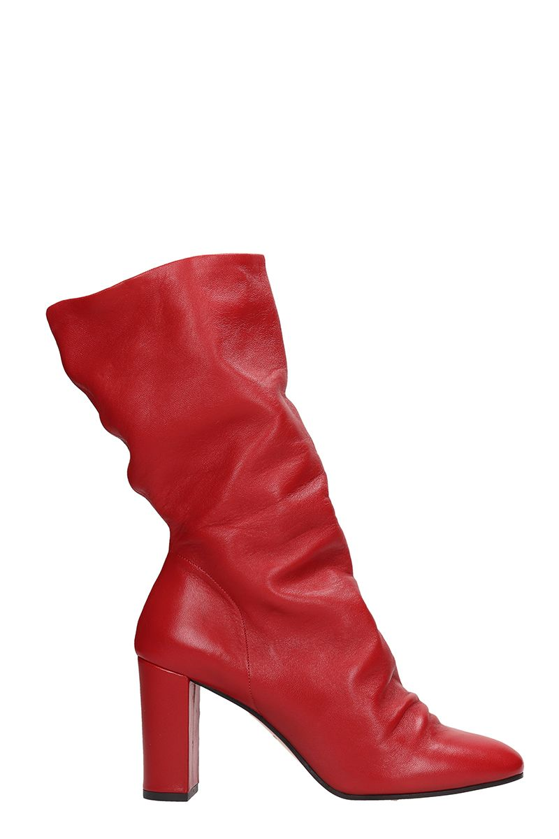 Marc Ellis RED CALF LEATHER ANKLE BOOTS