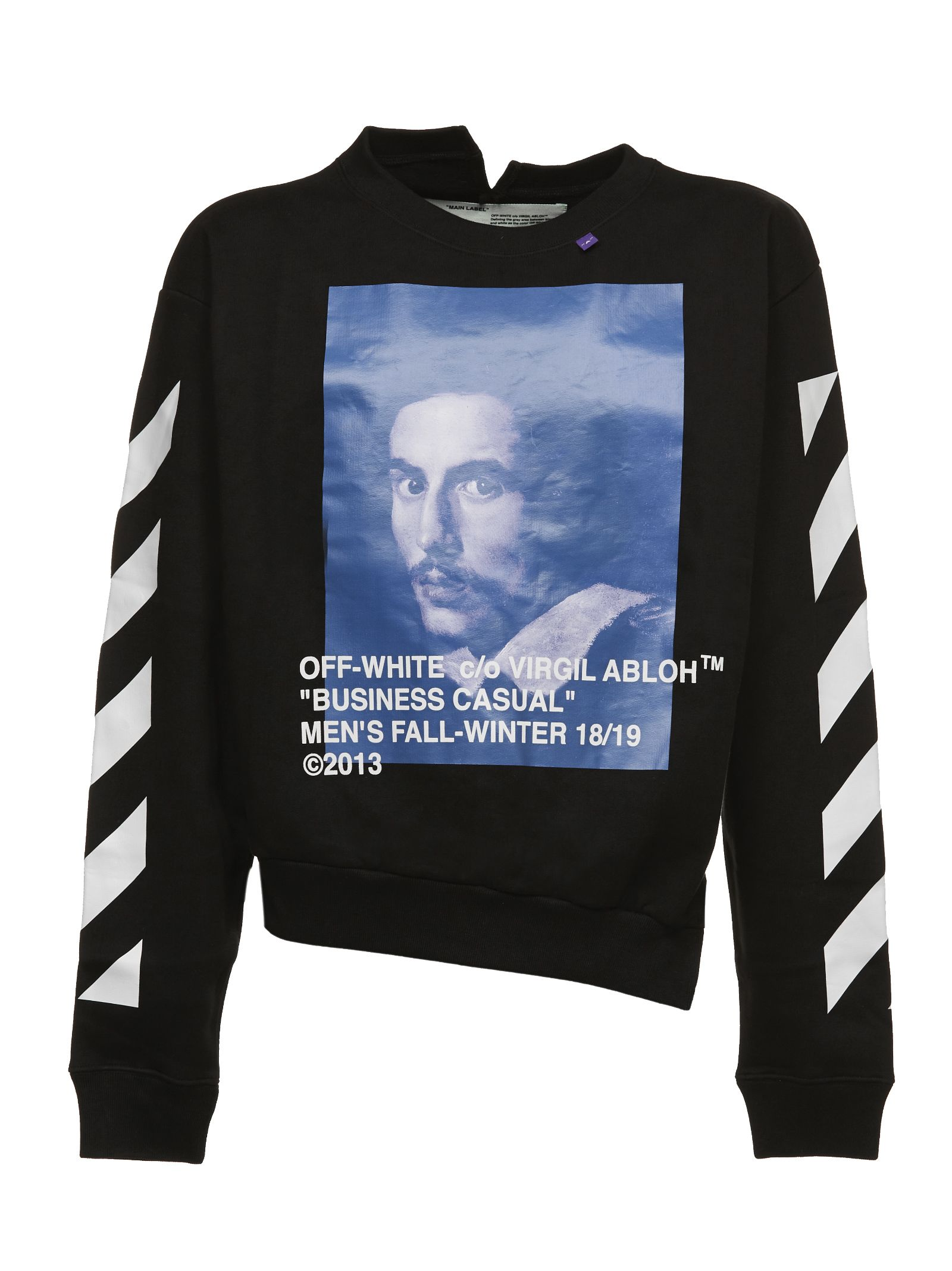 OFF-WHITE Diagonal Bernini Spliced Cotton Sweatshirt in Black