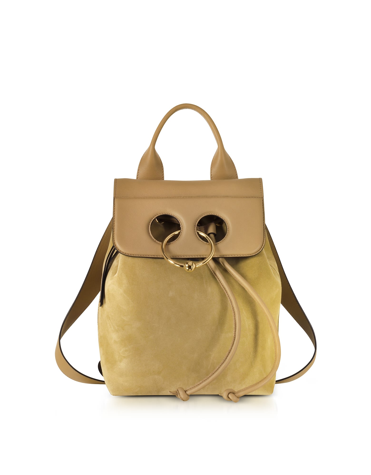 J.W.ANDERSON JW ANDERSON GOLD SUEDE AND LEATHER MINI PIERCE BACKPACK