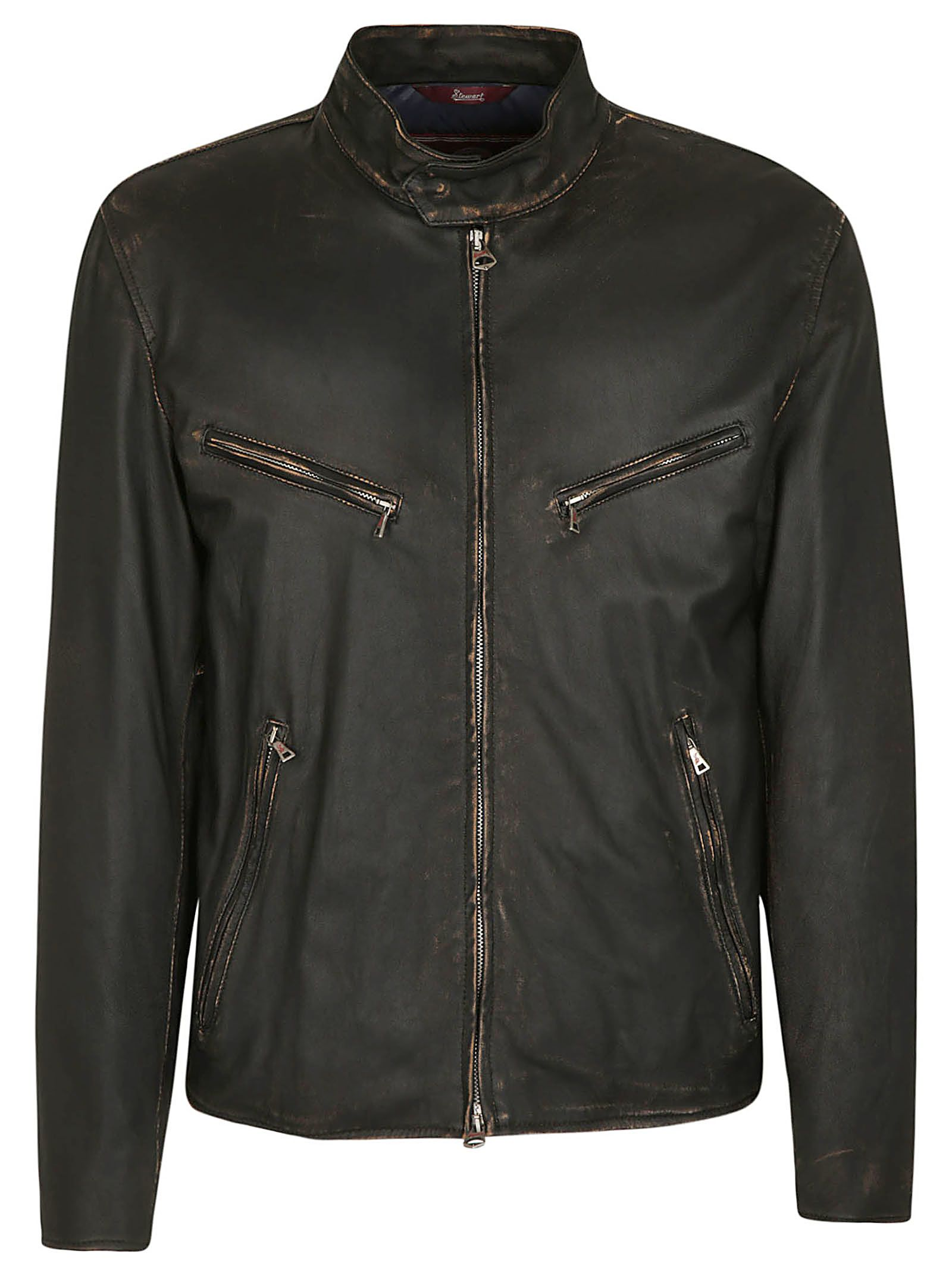 STEWART Zip Up Vintage Bomber in Black