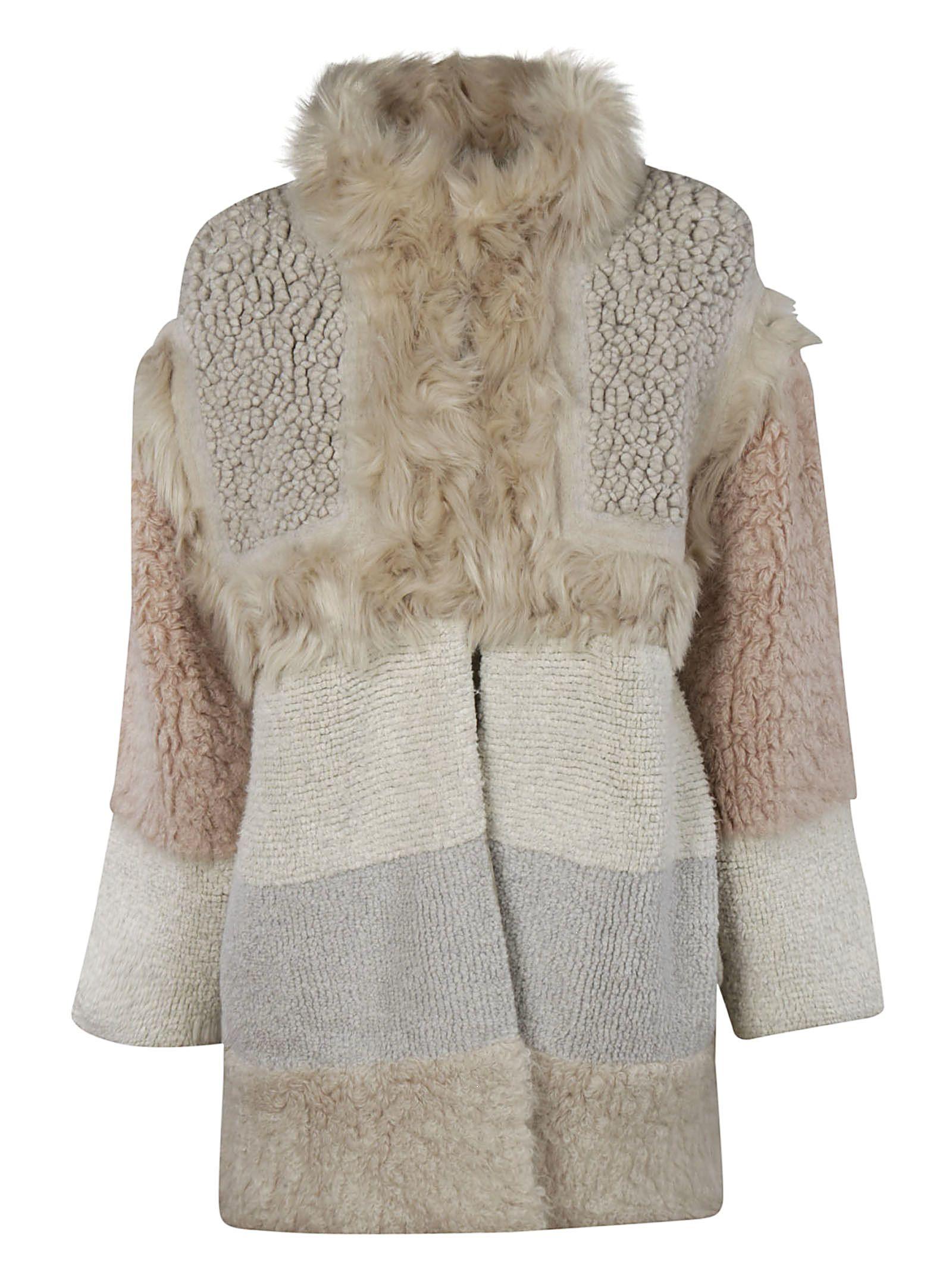 Colour-Block Shearling Coat, 8490.Bone/Camel