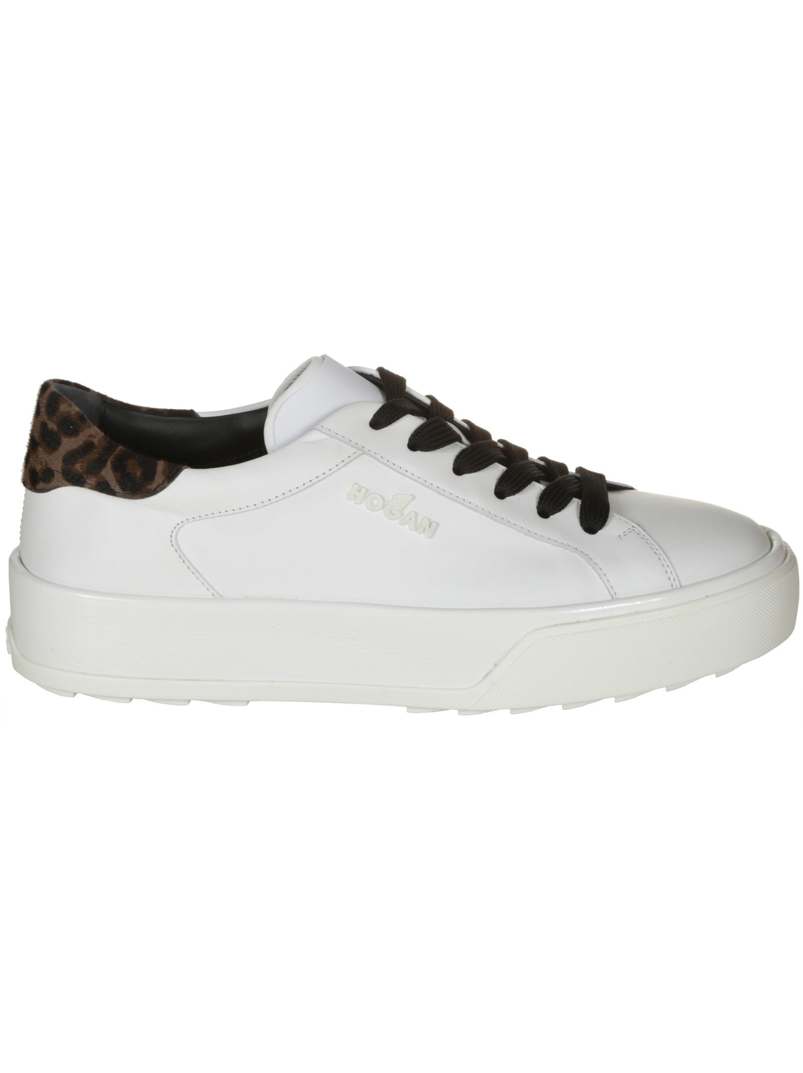 HOGAN Leopard Print Detail Sneakers in White