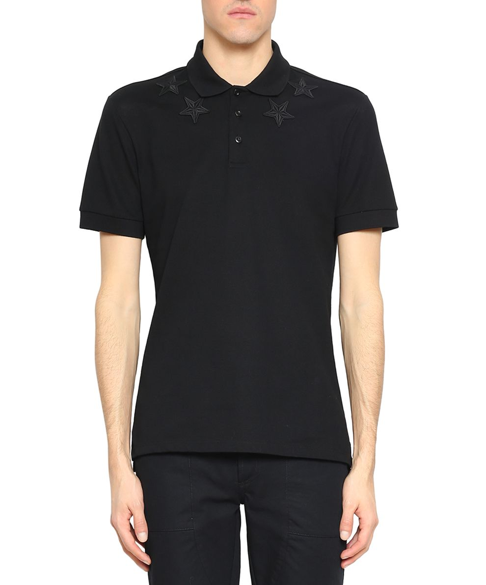 Givenchy Appliqué Stars Cotton Polo Shirt