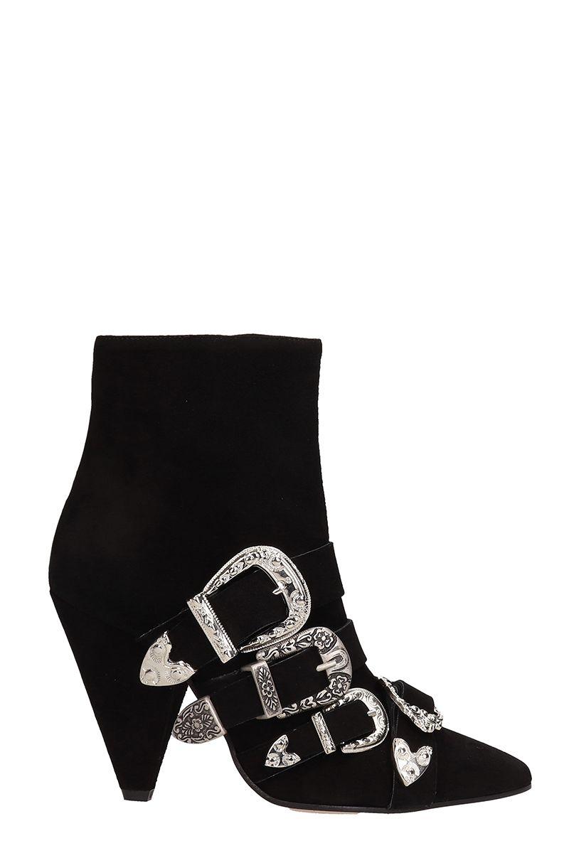 MARC ELLIS Black Suede Leather Ankle Boots