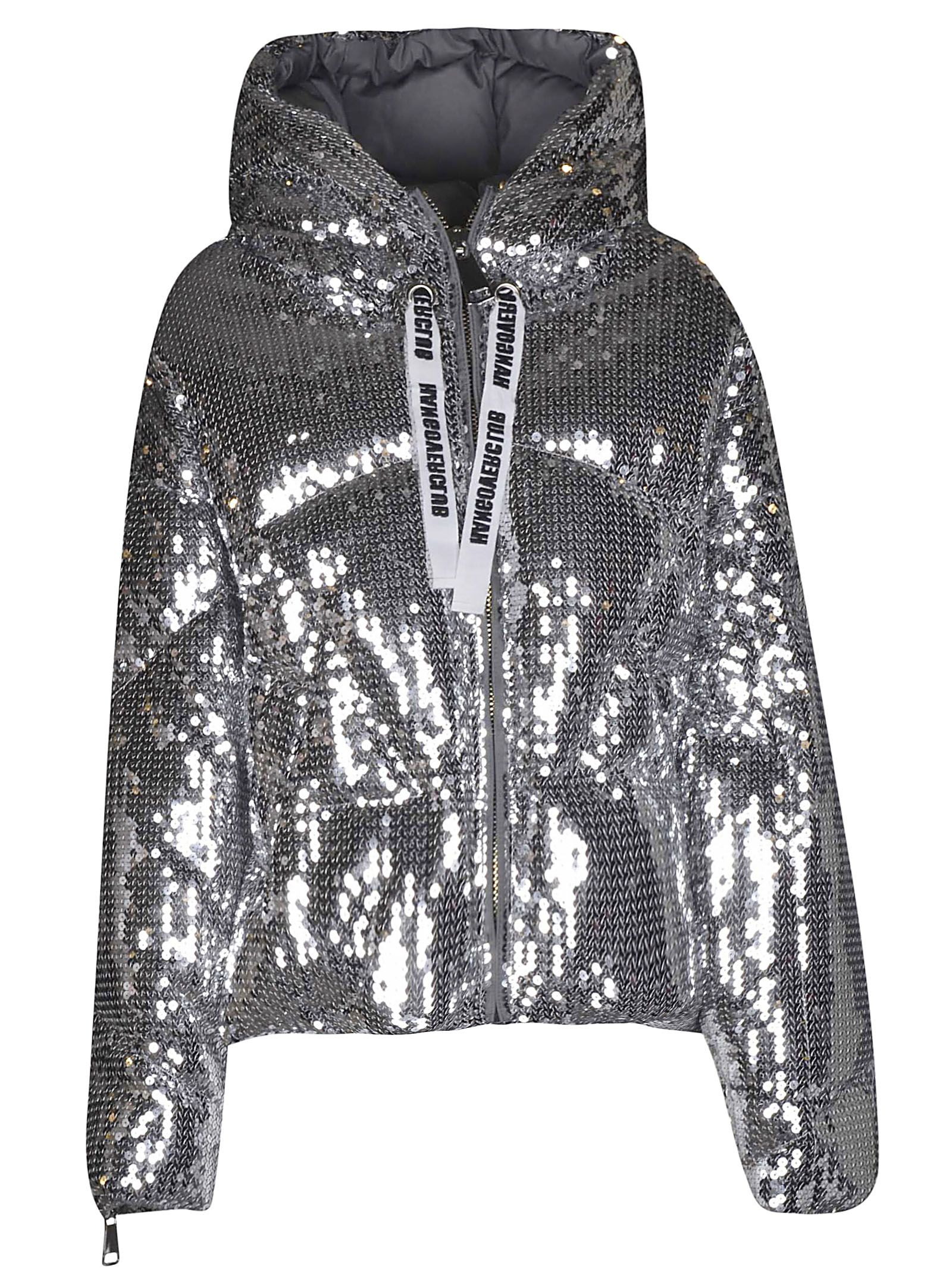 KHRISJOY Sequined Padded Jacket in Sipsilver Paillettes